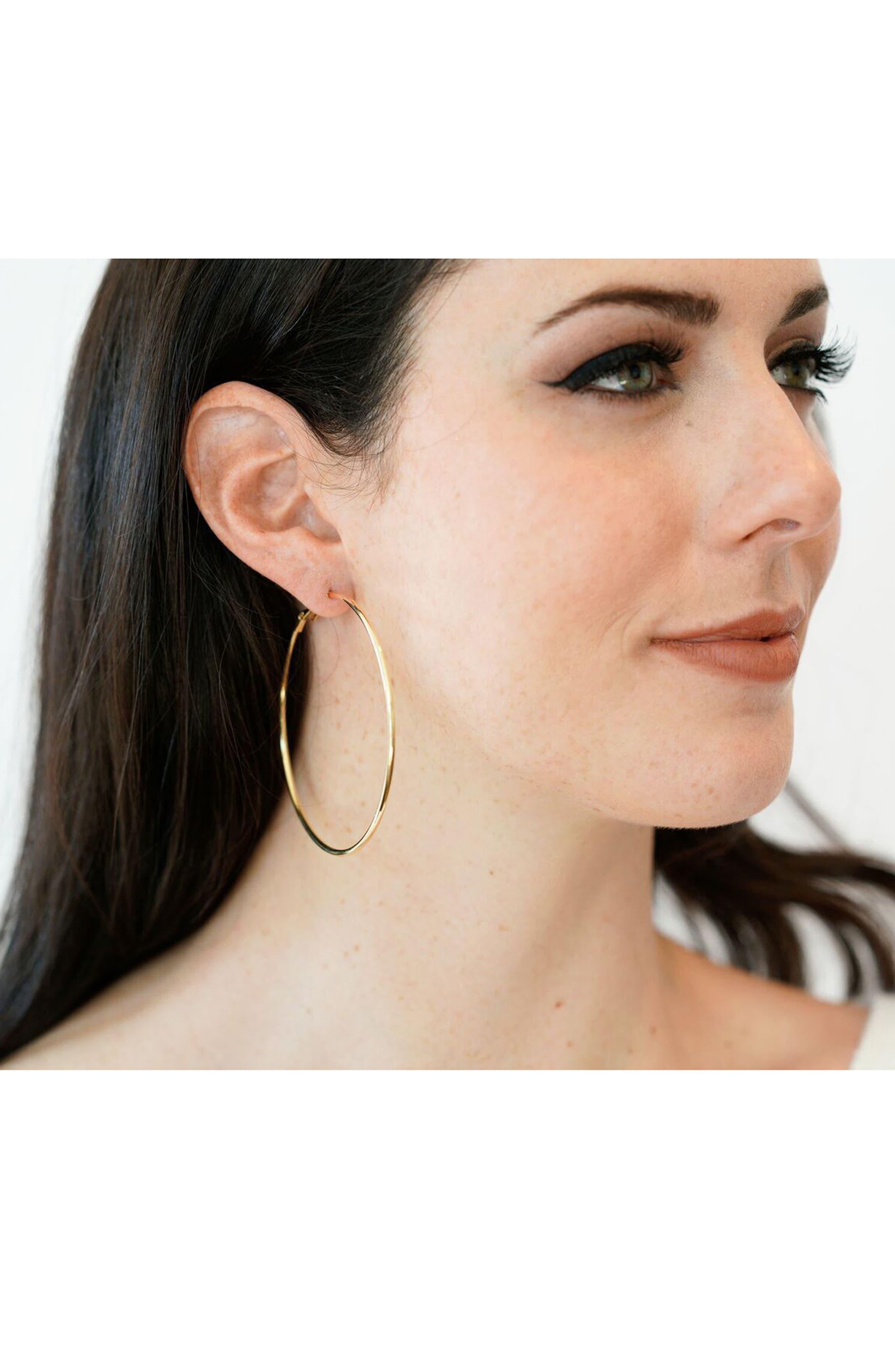 Gold Hoop Earrings,                             Alternate thumbnail 3, color,                             GOLD