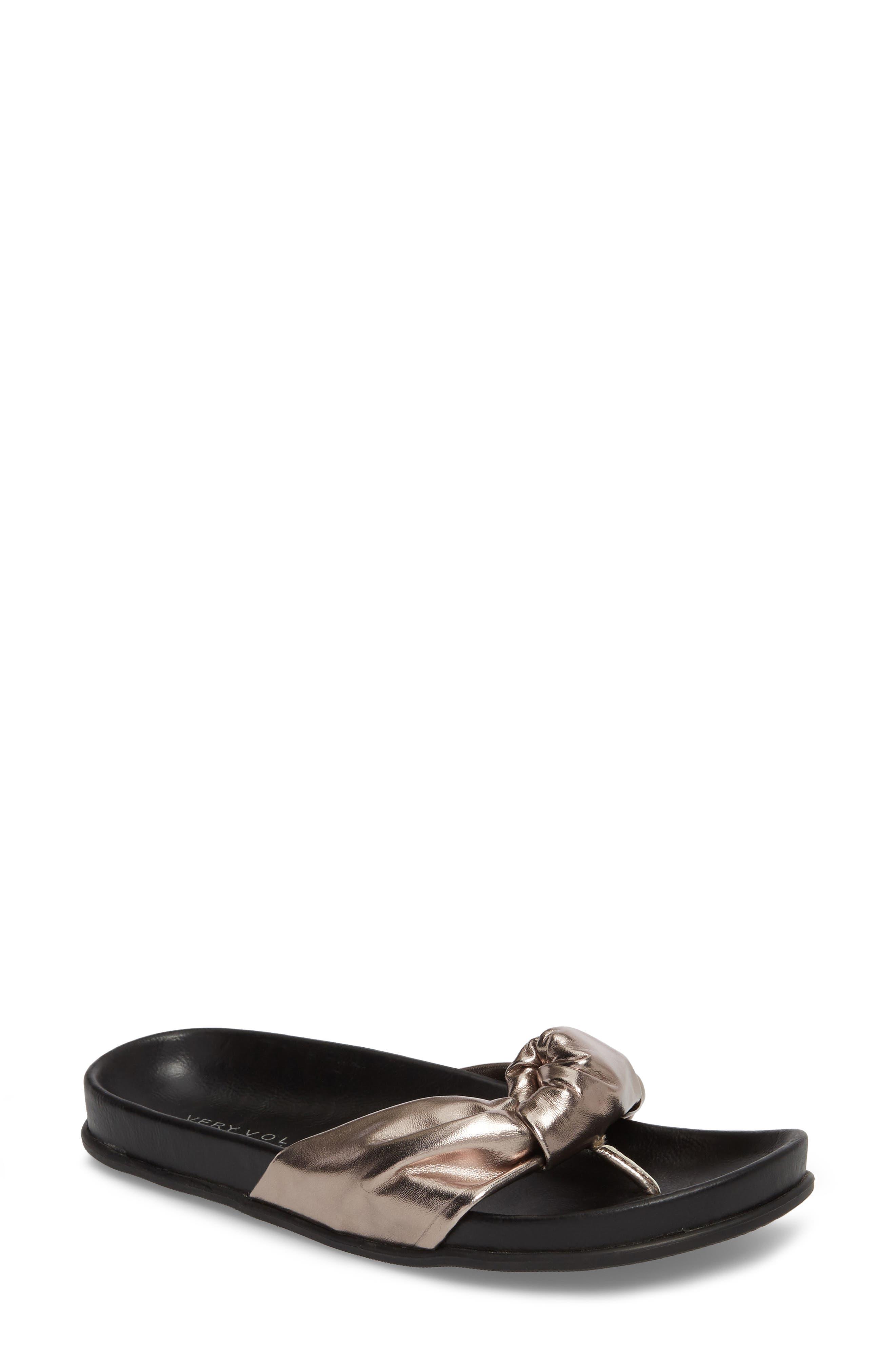 Very Volatile Glaze Bow Sandal, Metallic