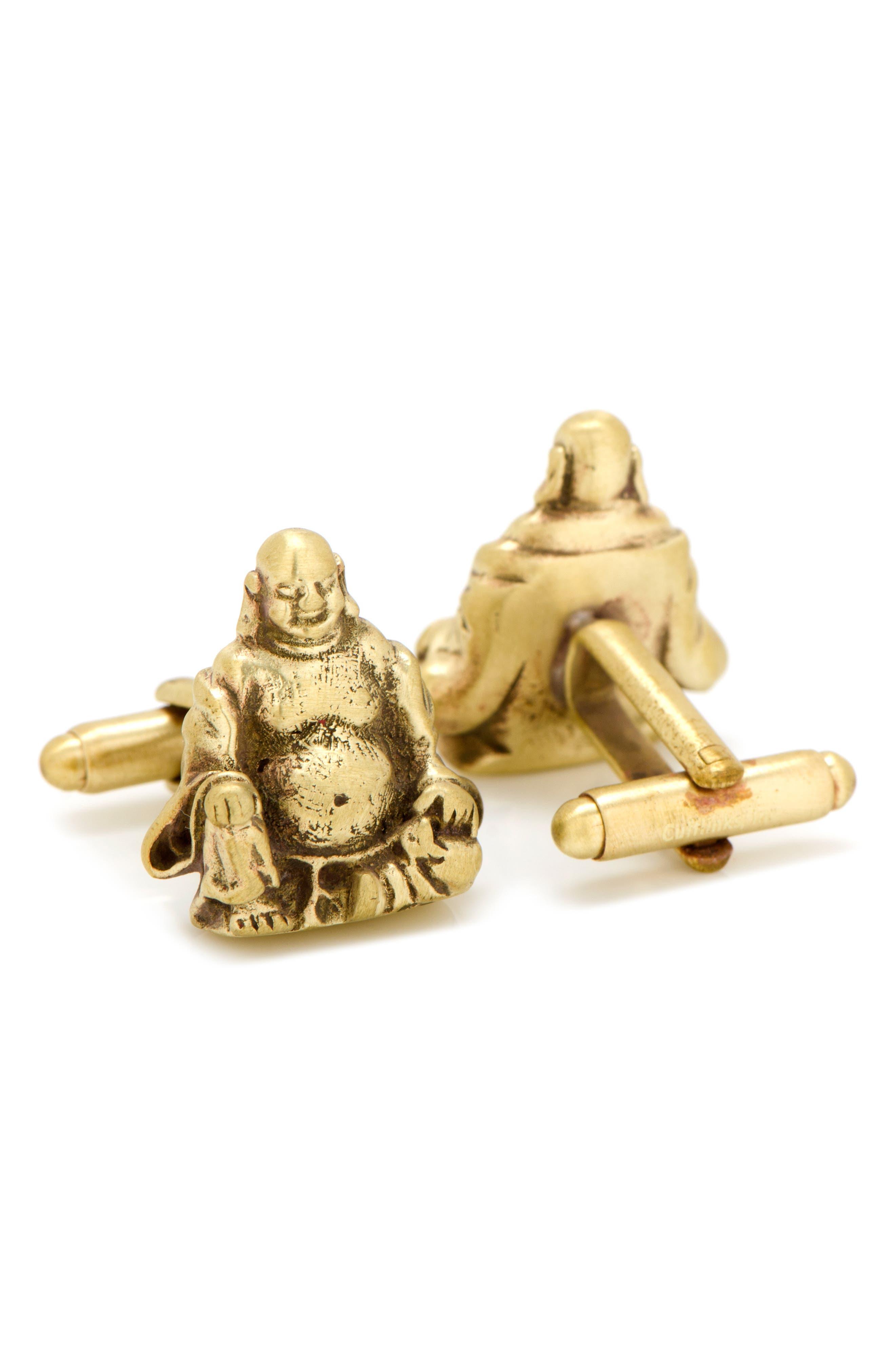 Smiling Buddha Cuff Links,                             Alternate thumbnail 2, color,                             METALLIC GOLD