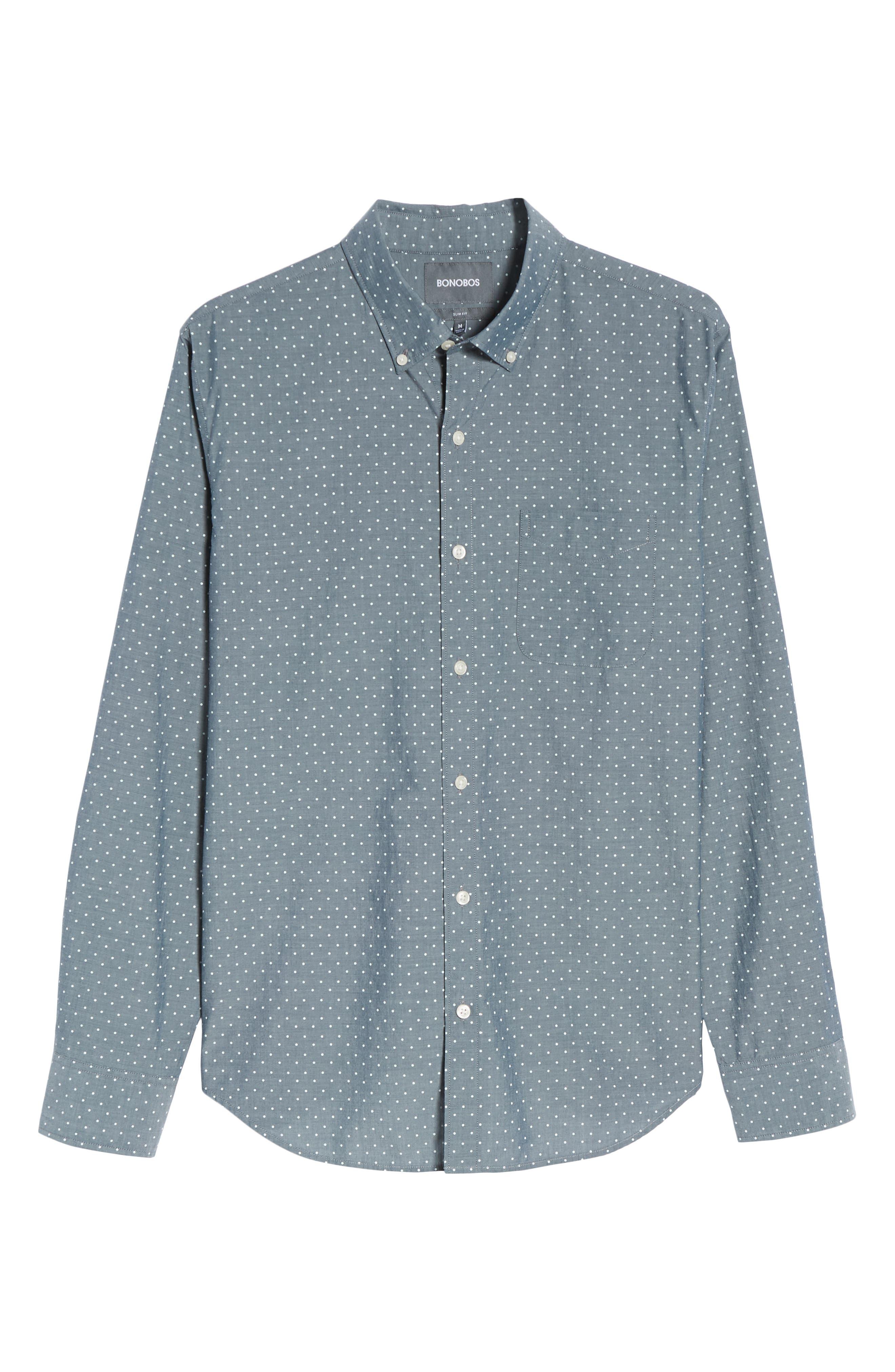 Summerweight Slim Fit Dot Sport Shirt,                             Alternate thumbnail 6, color,