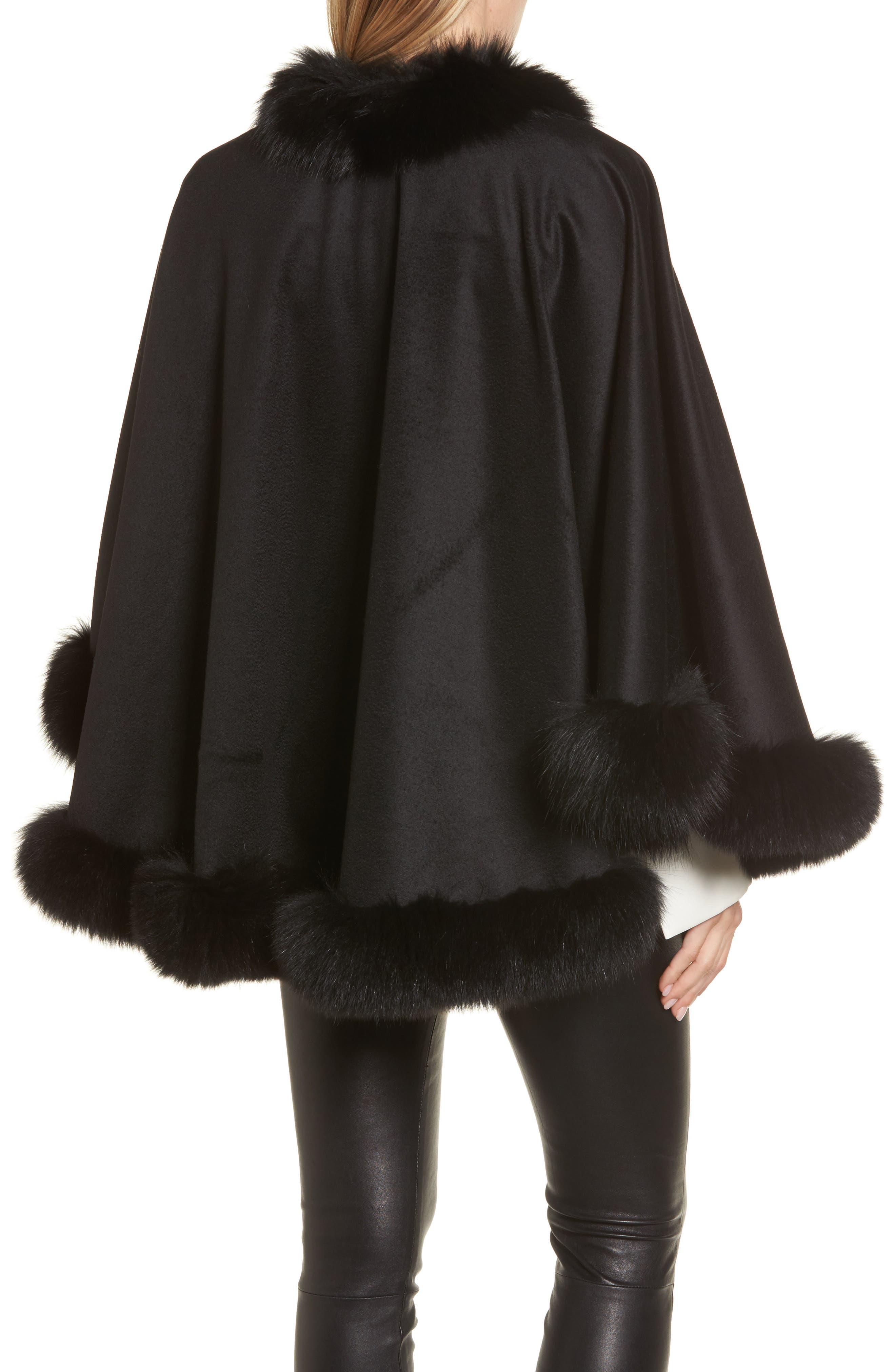 Genuine Fox Fur Trim Short Cashmere Cape,                             Alternate thumbnail 5, color,