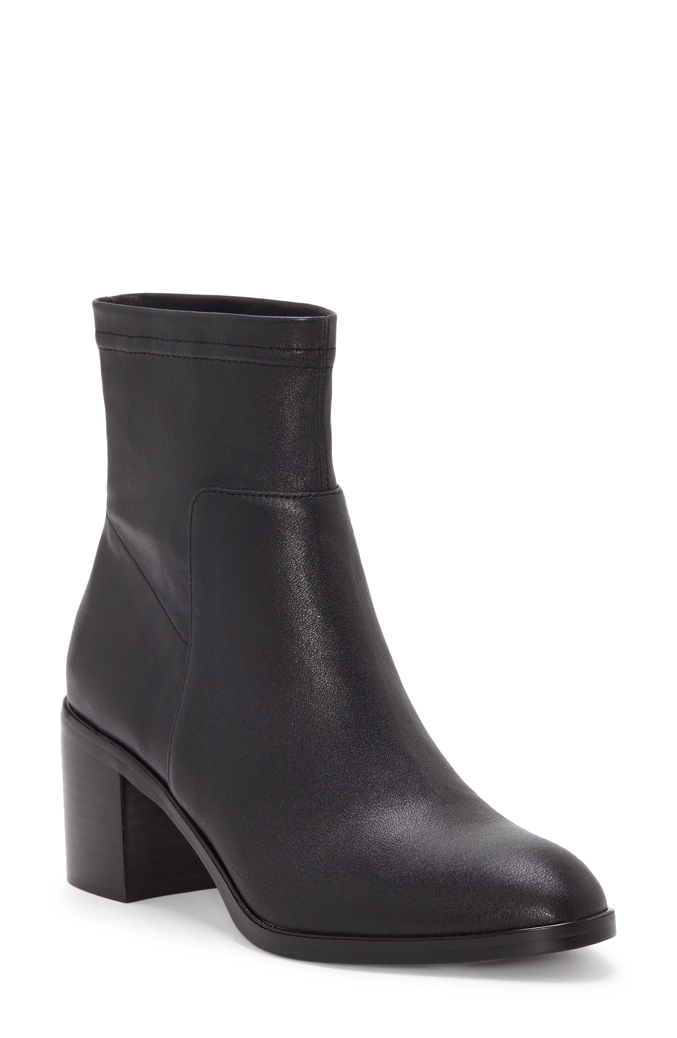Jeandra Bootie,                             Main thumbnail 1, color,                             BLACK LEATHER
