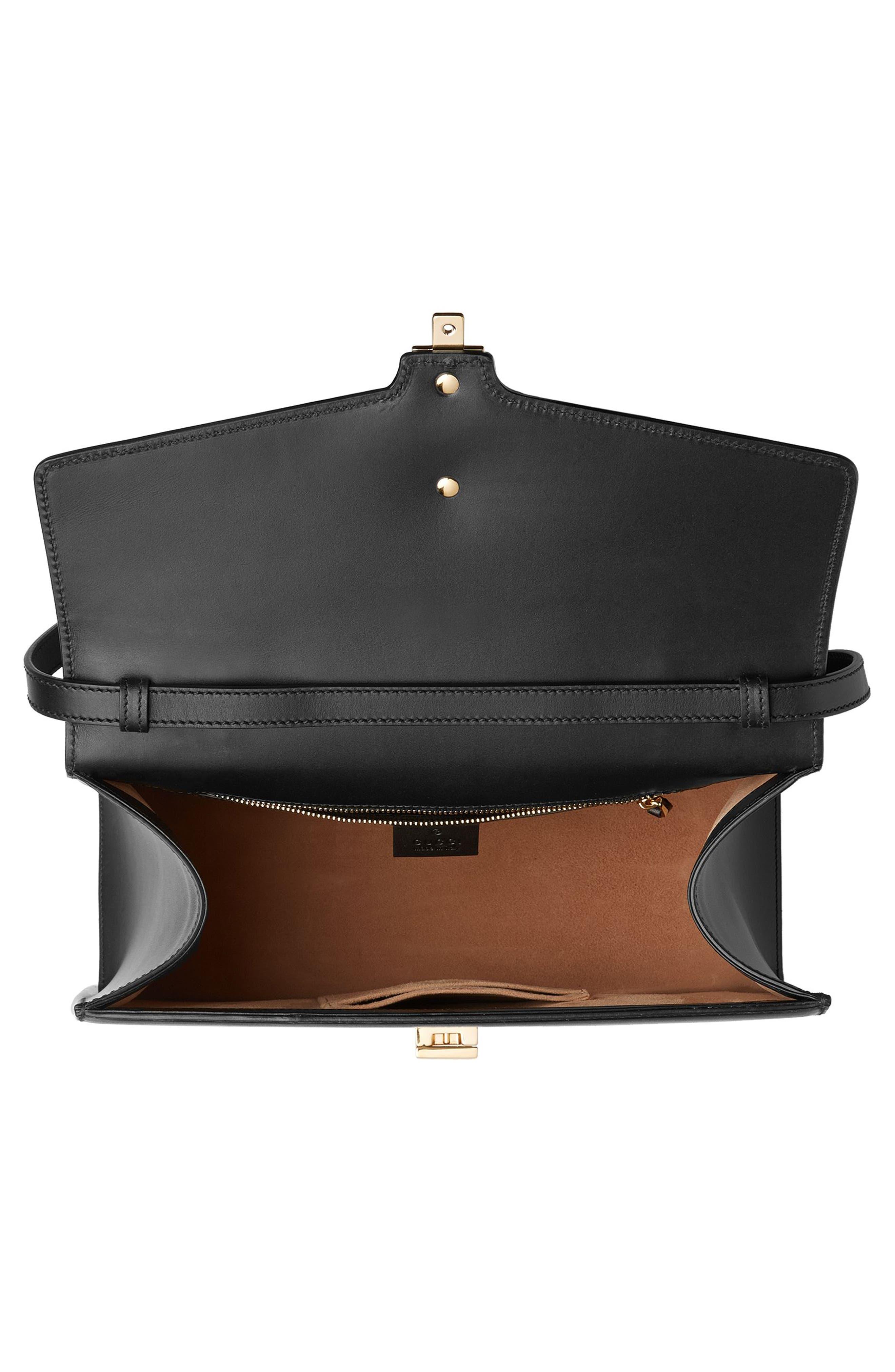 Sylvie Top Handle Leather Shoulder Bag,                             Alternate thumbnail 3, color,                             NERO/VRV