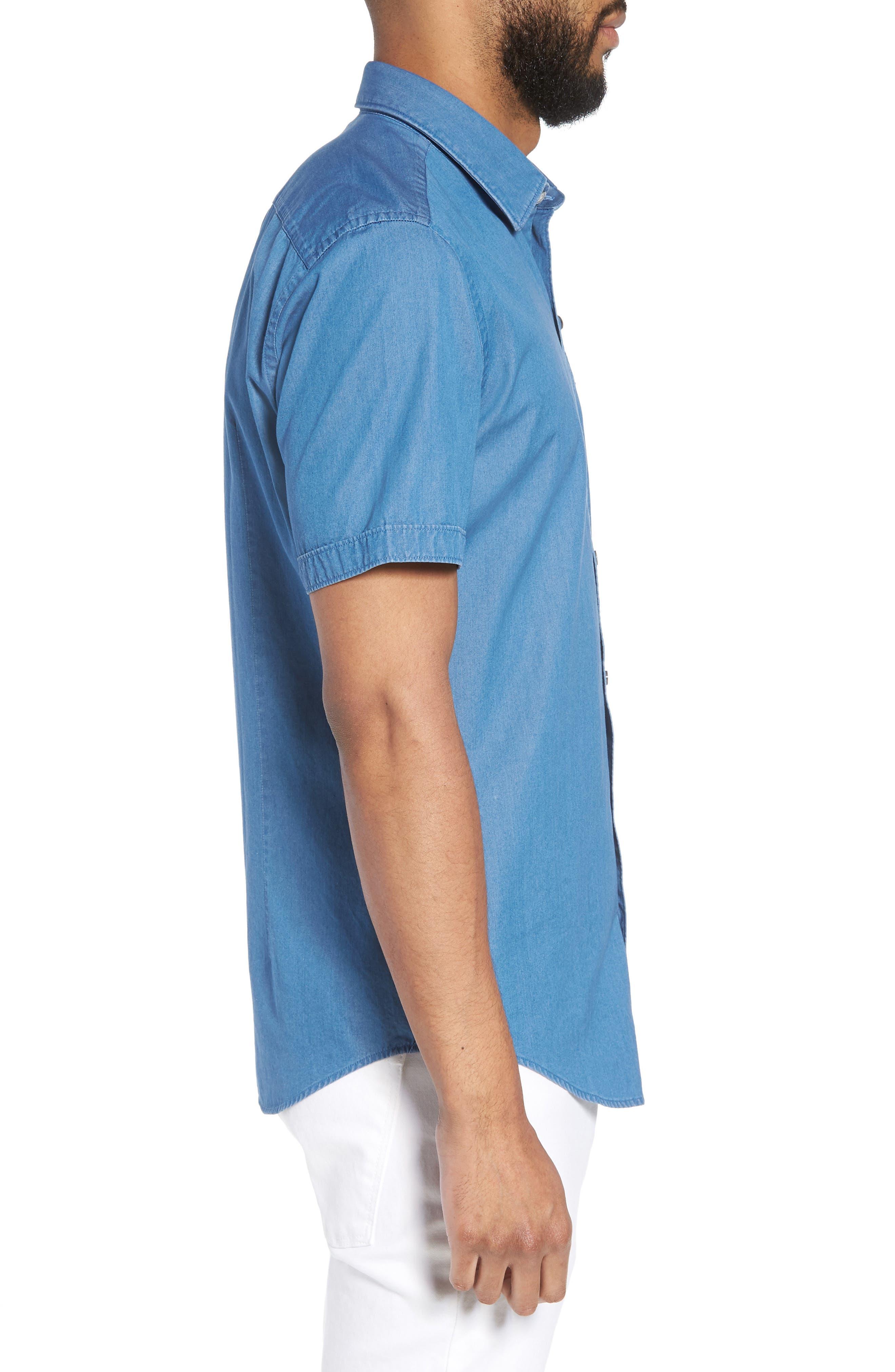 Robb Trim Fit Denim Short Sleeve Sport Shirt,                             Alternate thumbnail 3, color,                             BLUE