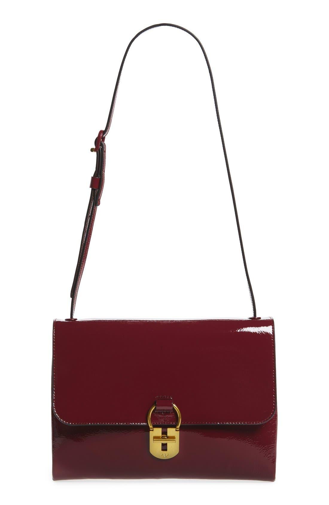 Patent Leather Convertible Shoulder Bag,                             Main thumbnail 1, color,                             606