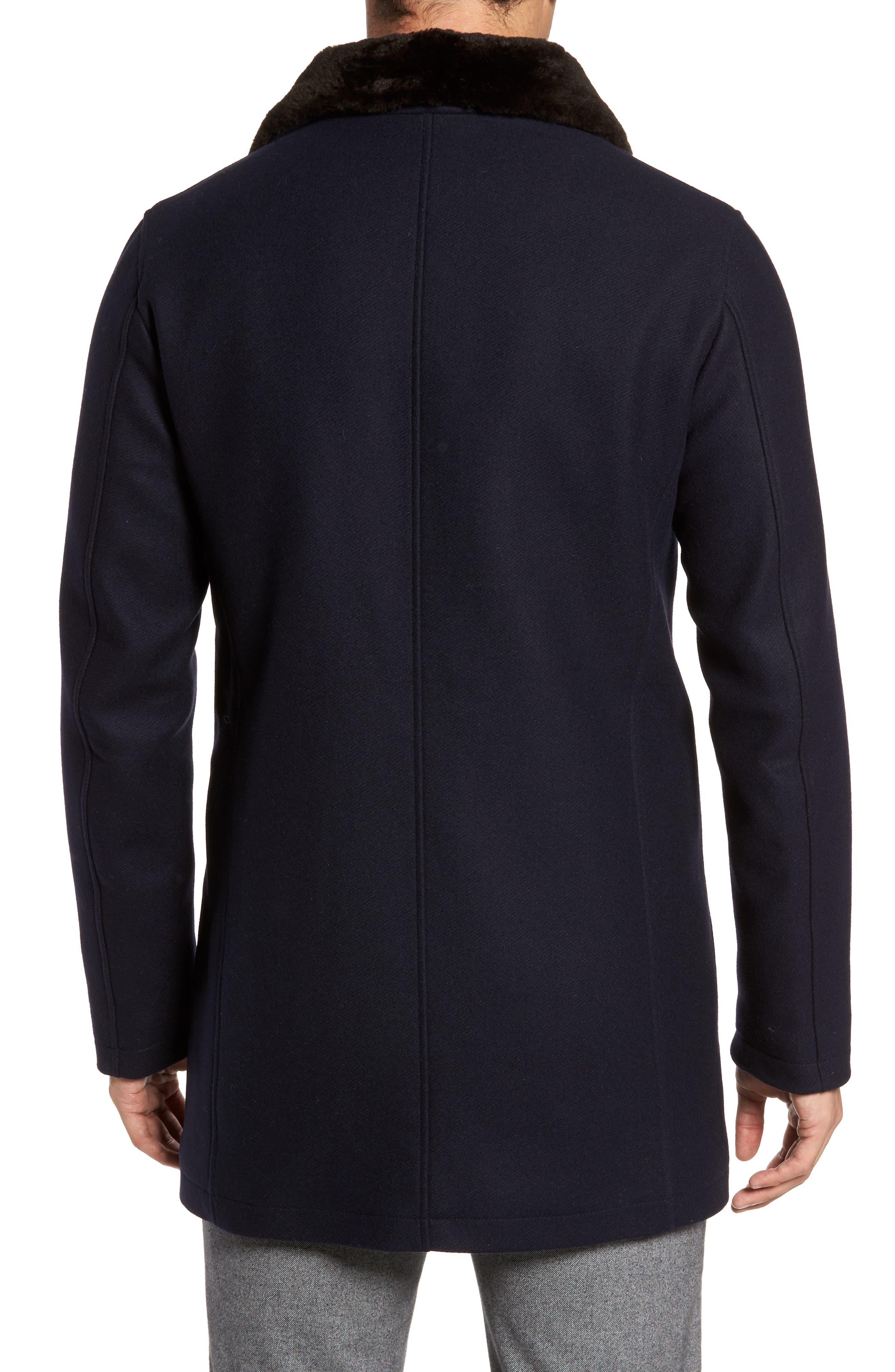 Genuine Beaver Fur Collar Wool Blend Coat,                             Alternate thumbnail 2, color,                             400
