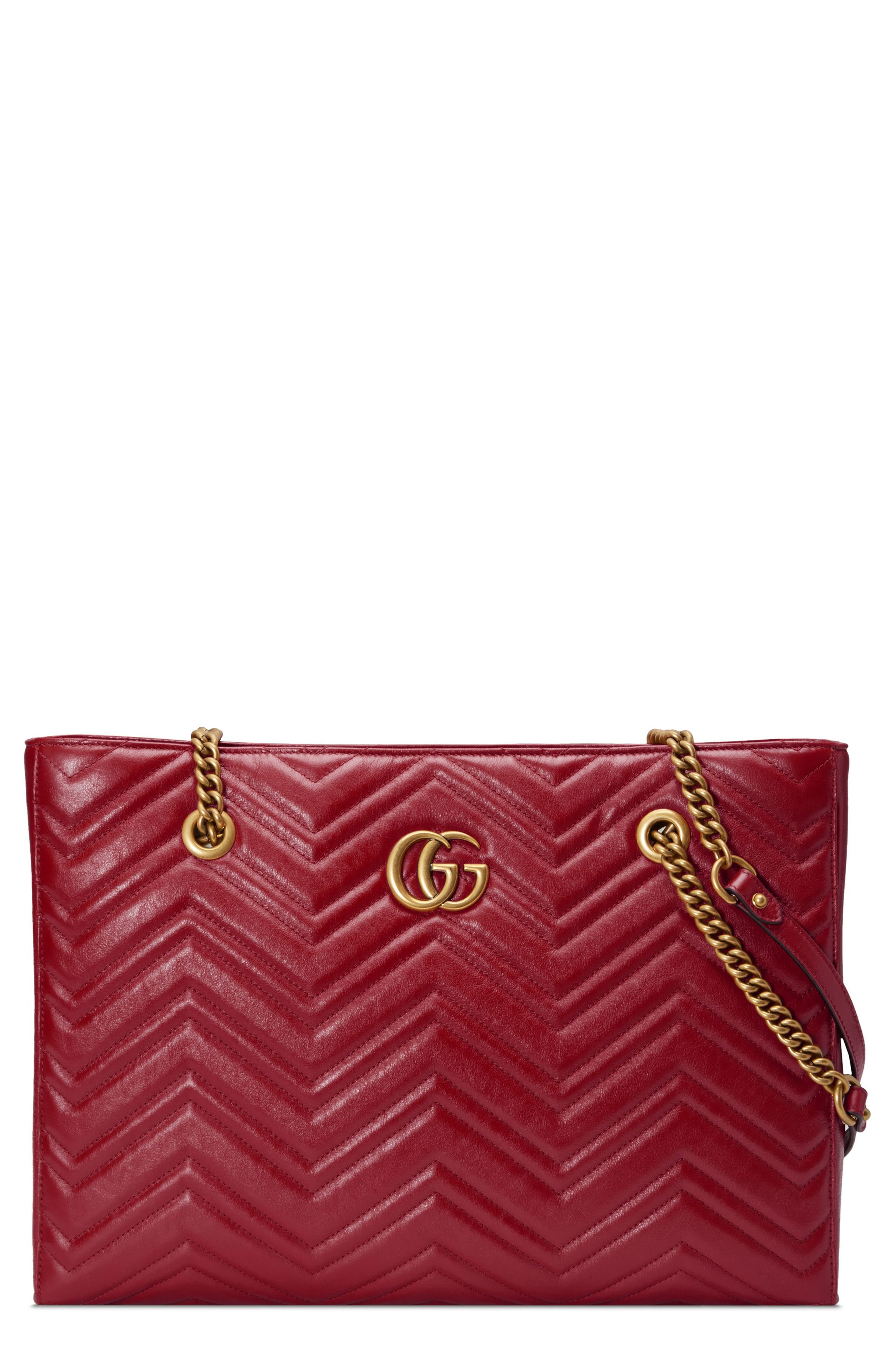 GG Marmont 2.0 Matelassé Medium Leather East/West Tote Bag,                             Main thumbnail 1, color,                             CERISE/ CERISE