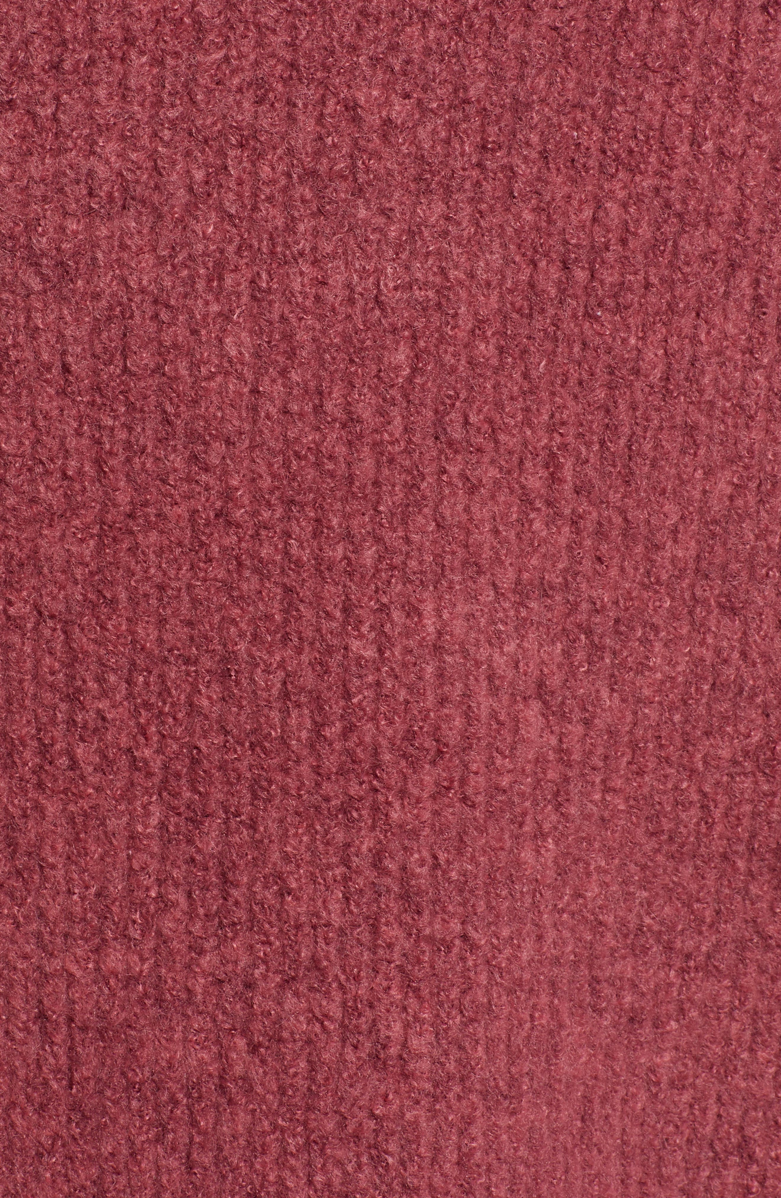 Fuzzy Oversize Sweater,                             Alternate thumbnail 5, color,                             BURGUNDY THORN