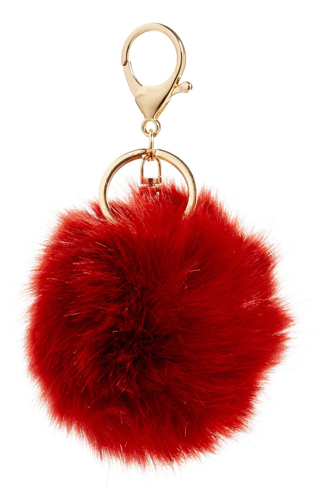 Faux Fur Pom Bag Charm,                             Main thumbnail 6, color,