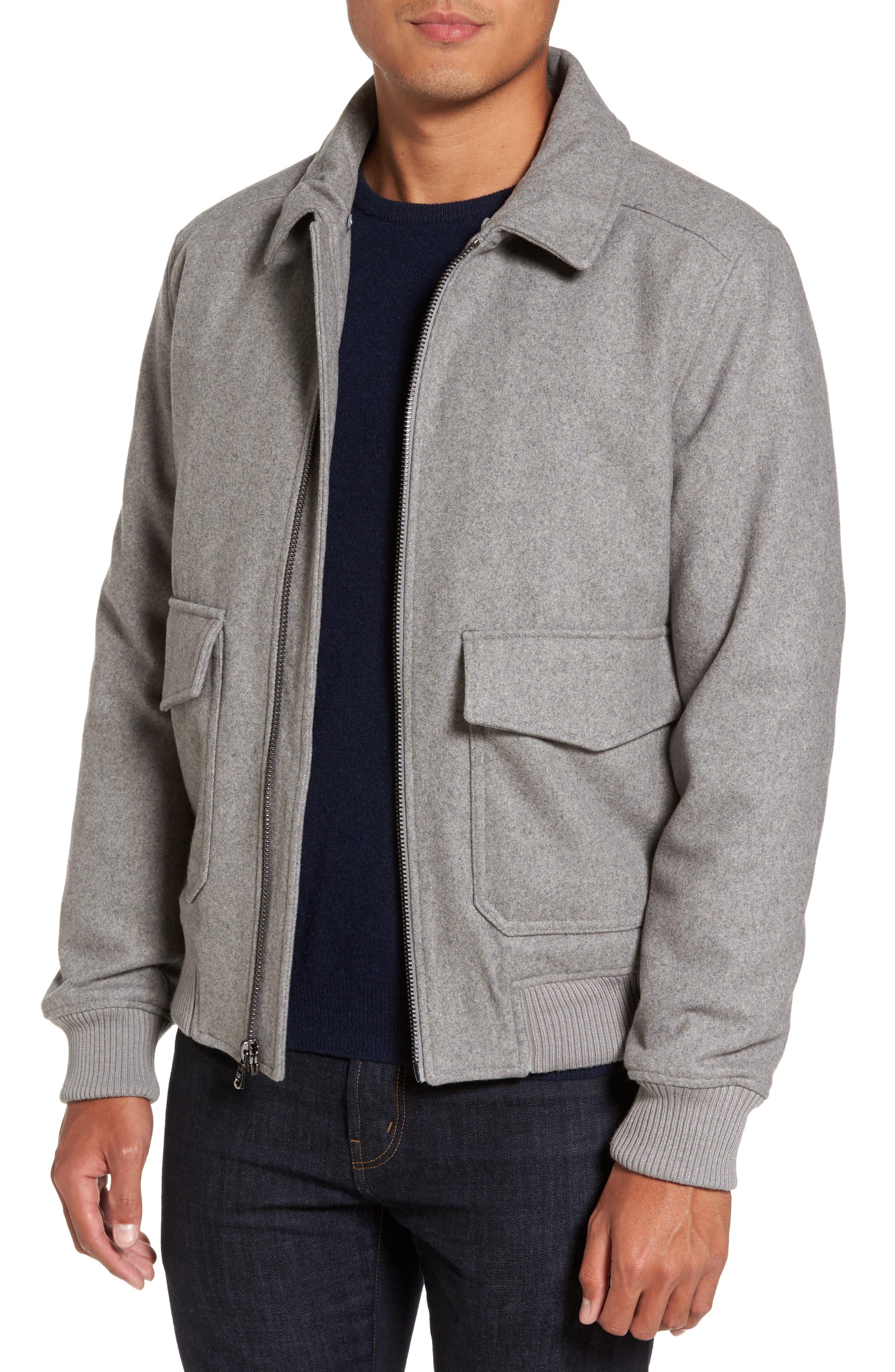 Fleece Collar Wool Blend A-2 Jacket,                             Alternate thumbnail 4, color,                             034