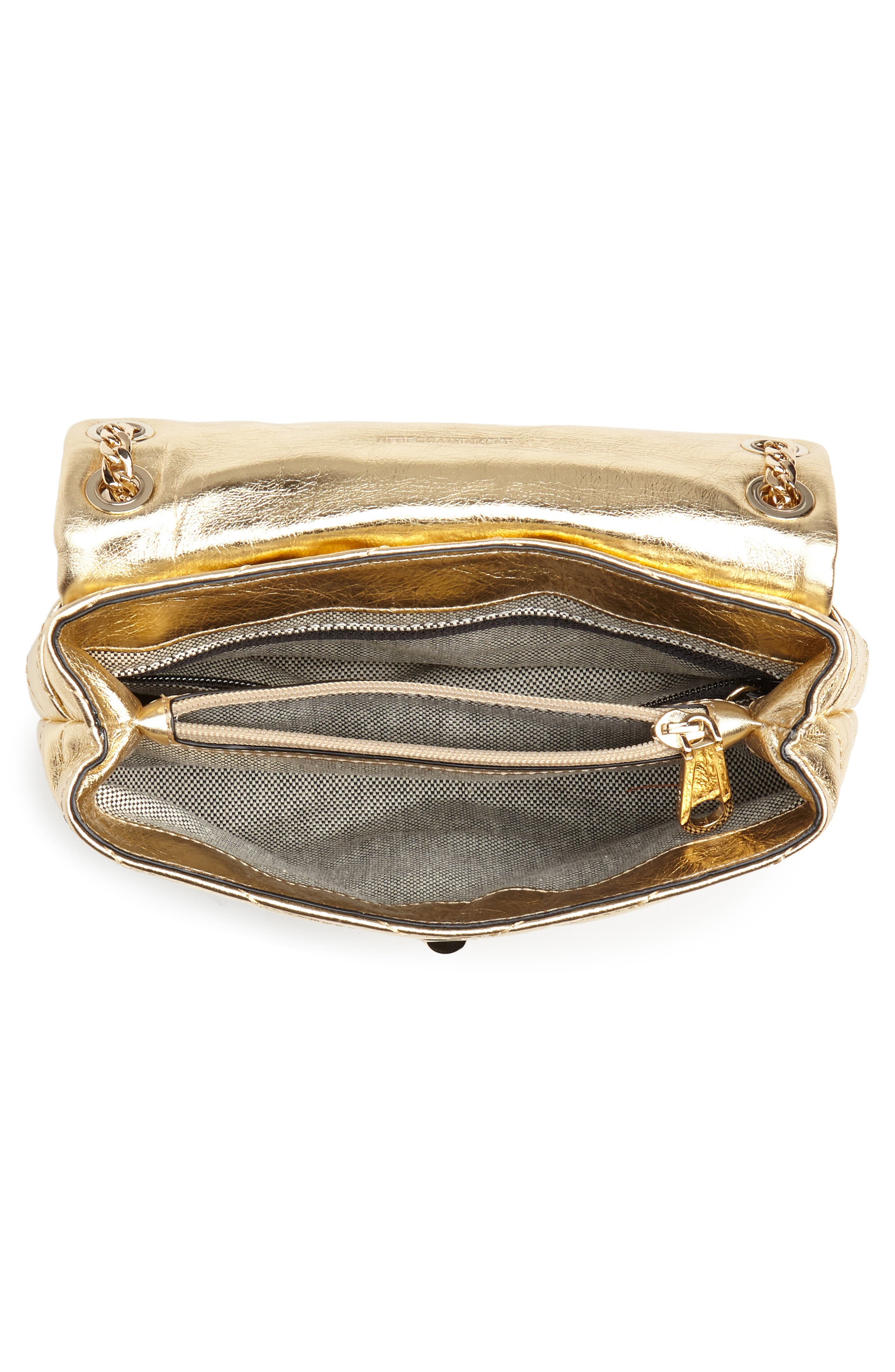 Edie Metallic Leather Shoulder Bag,                             Alternate thumbnail 4, color,                             GOLD