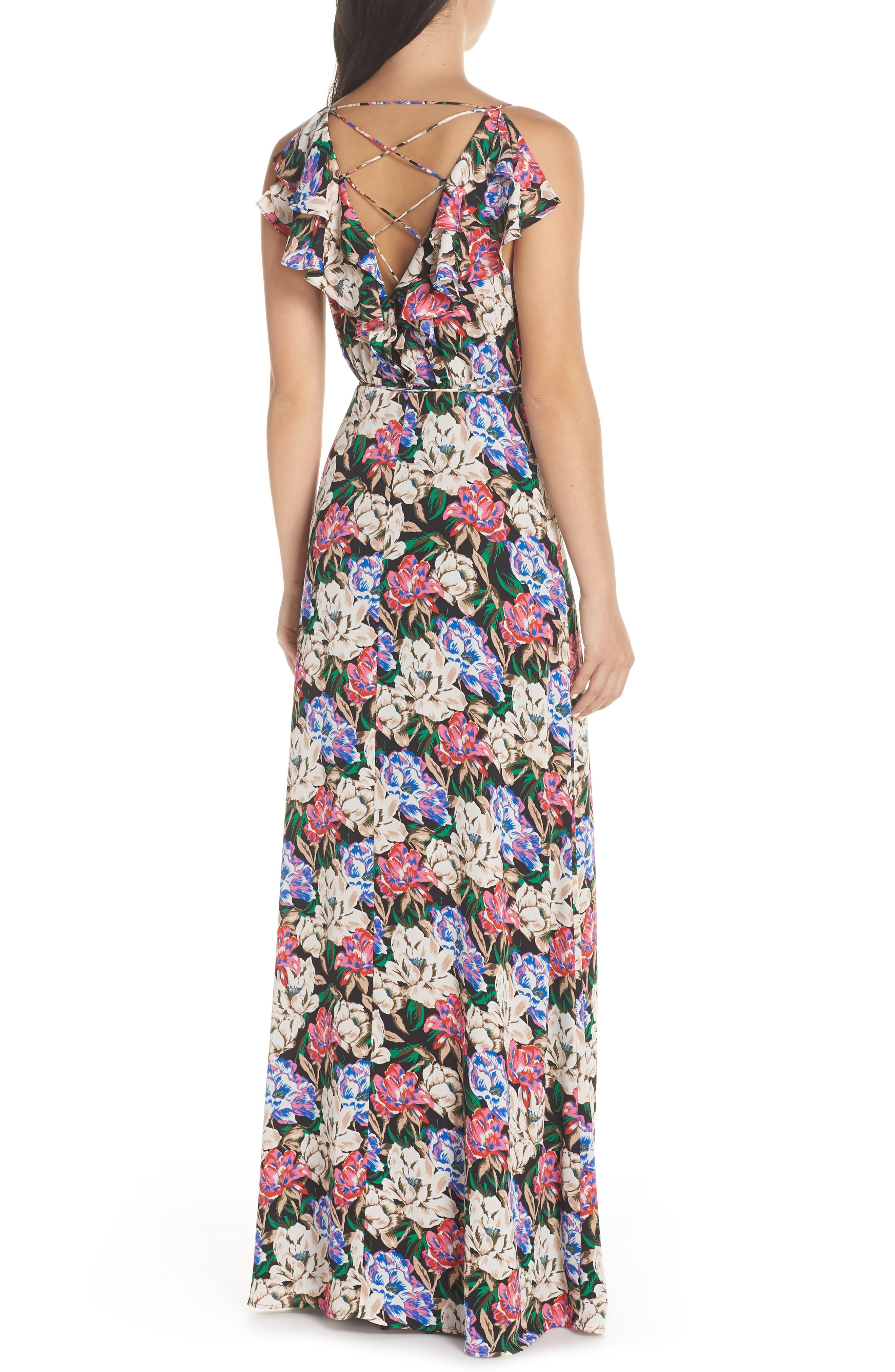 Jamie Ruffle Wrap Gown,                             Alternate thumbnail 2, color,                             MIDNIGHT FLORAL