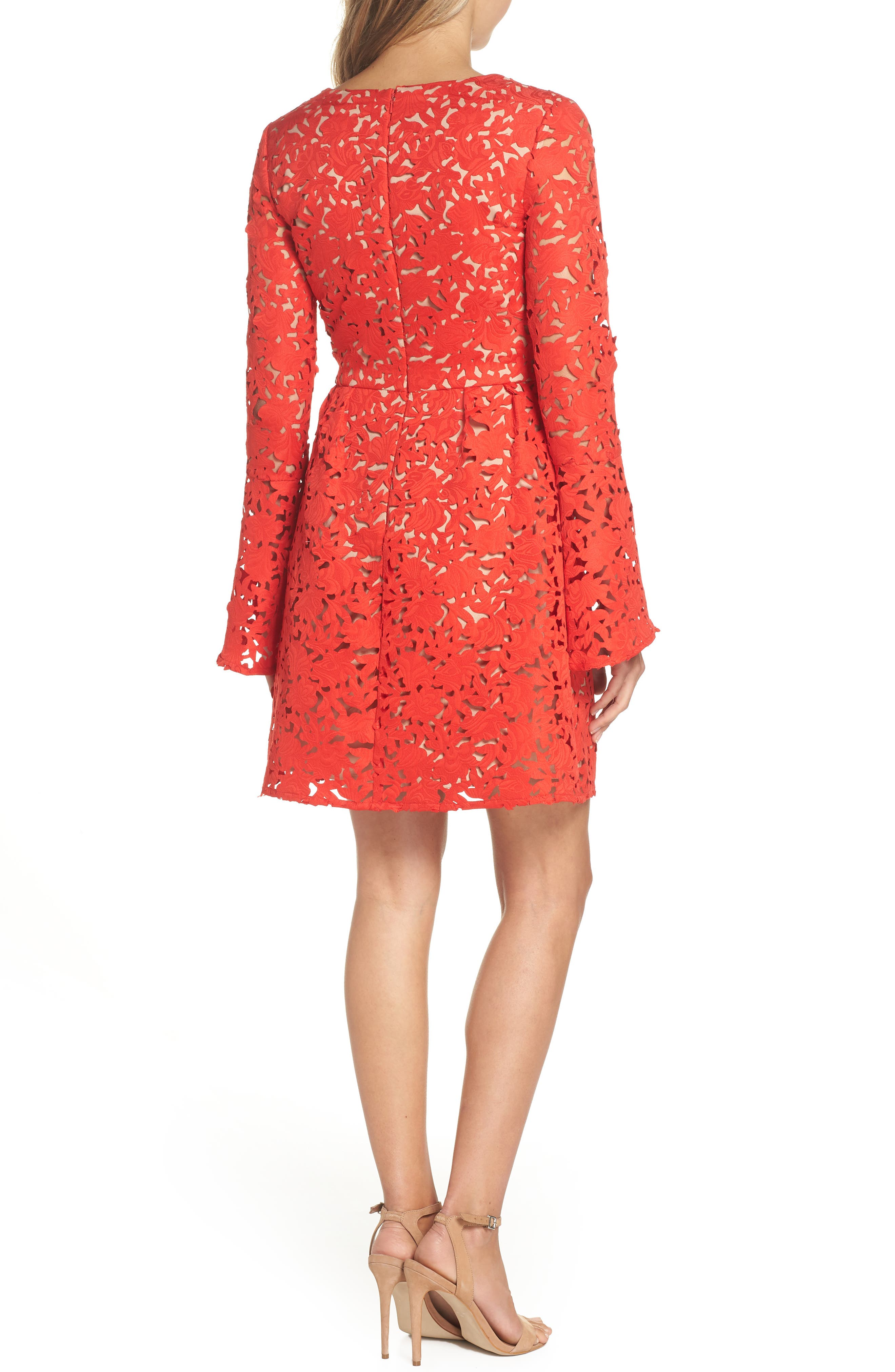 Lazercut Bell Sleeve Fit & Flare Dress,                             Alternate thumbnail 2, color,                             643