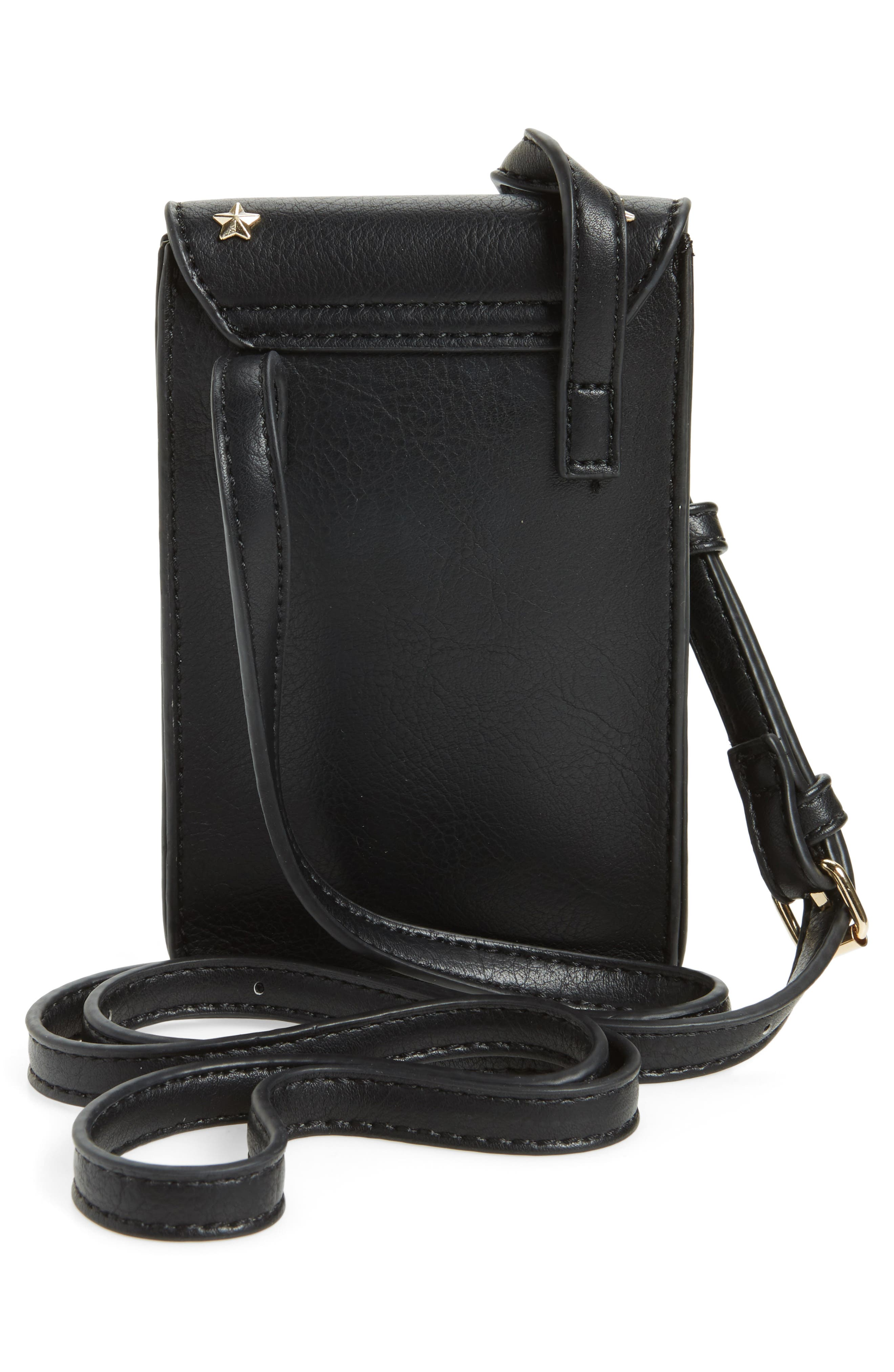 Studded Faux Leather Phone Crossbody Bag,                             Alternate thumbnail 3, color,                             001