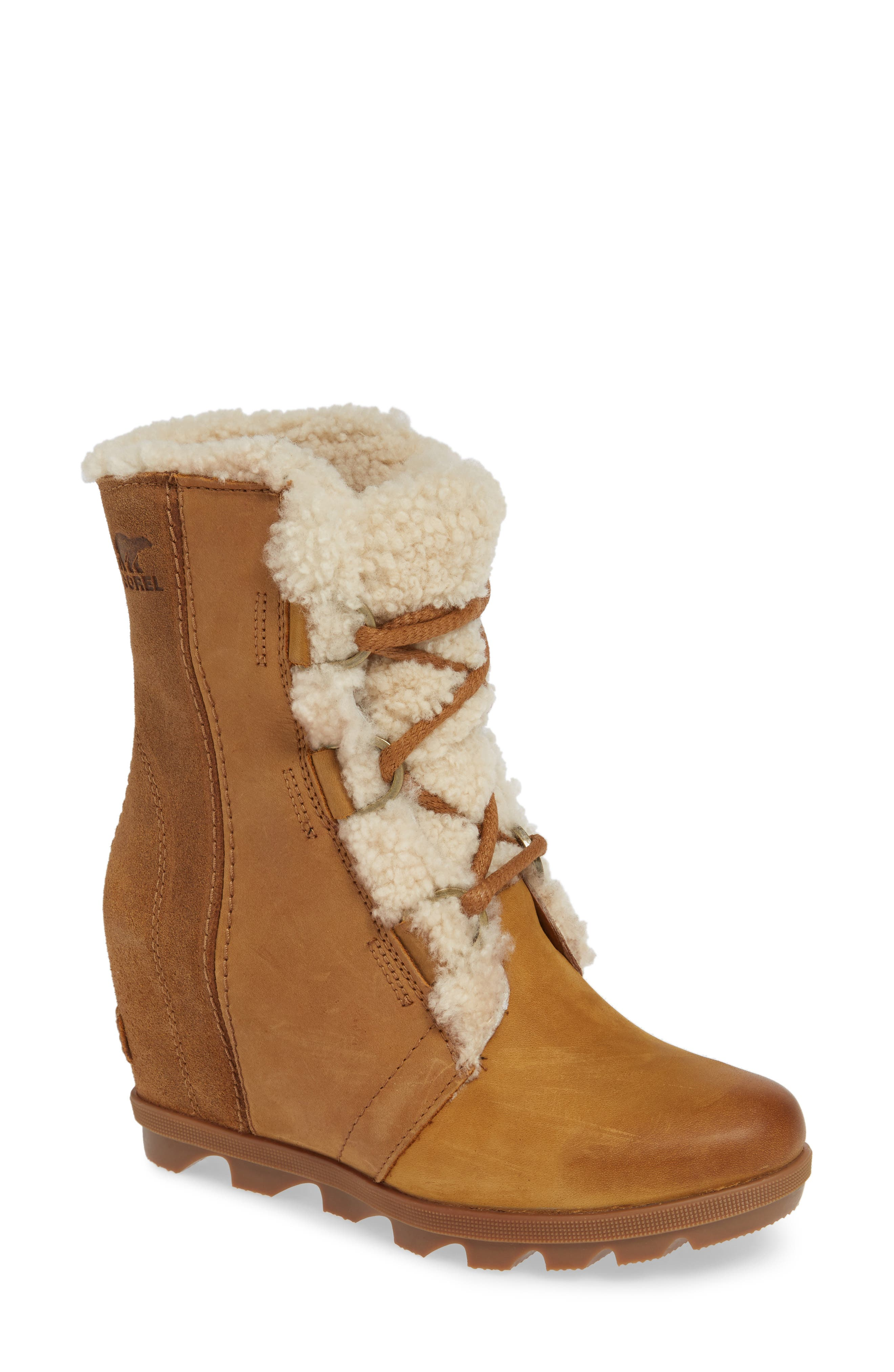 Joan of Arctic Wedge II Genuine Shearling Bootie,                             Main thumbnail 1, color,                             CAMEL BROWN