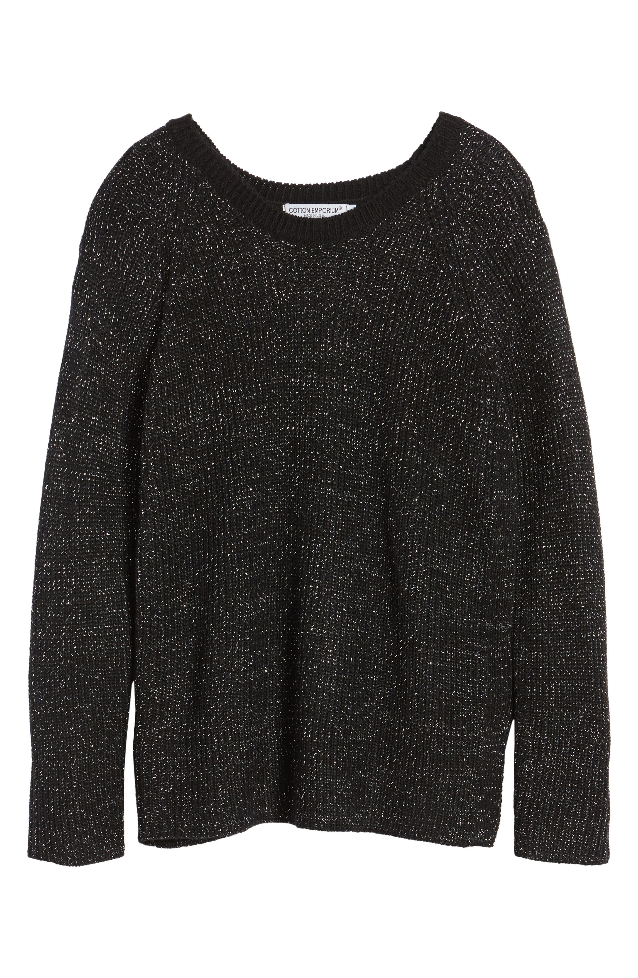 Sparkle Knit Sweater,                             Alternate thumbnail 6, color,                             001