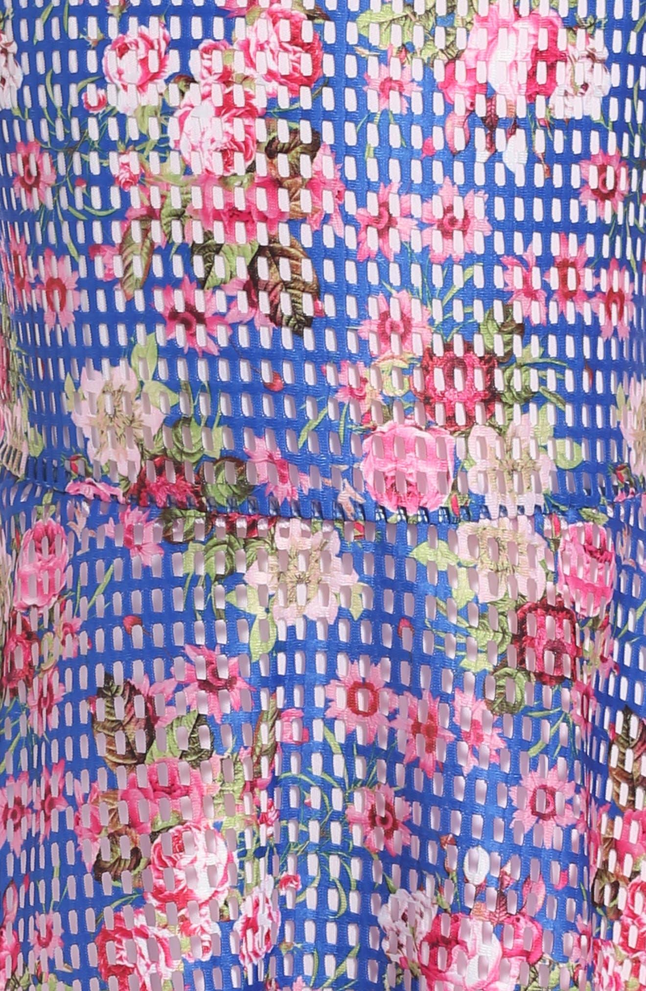 Floral Skater Dress,                             Alternate thumbnail 3, color,                             400