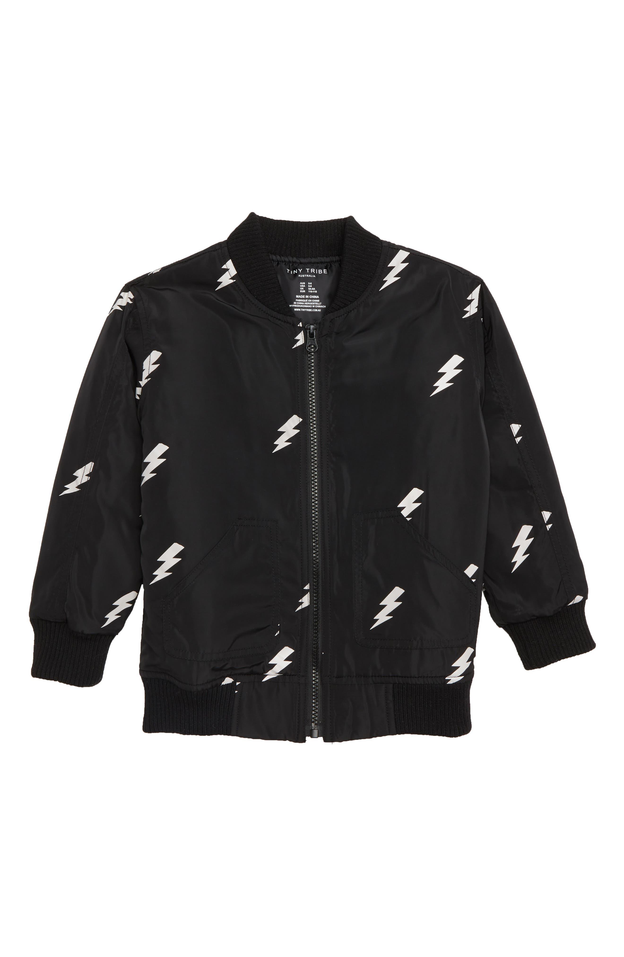 Lightning Bomber Jacket,                             Main thumbnail 1, color,                             BLACK / WHITE