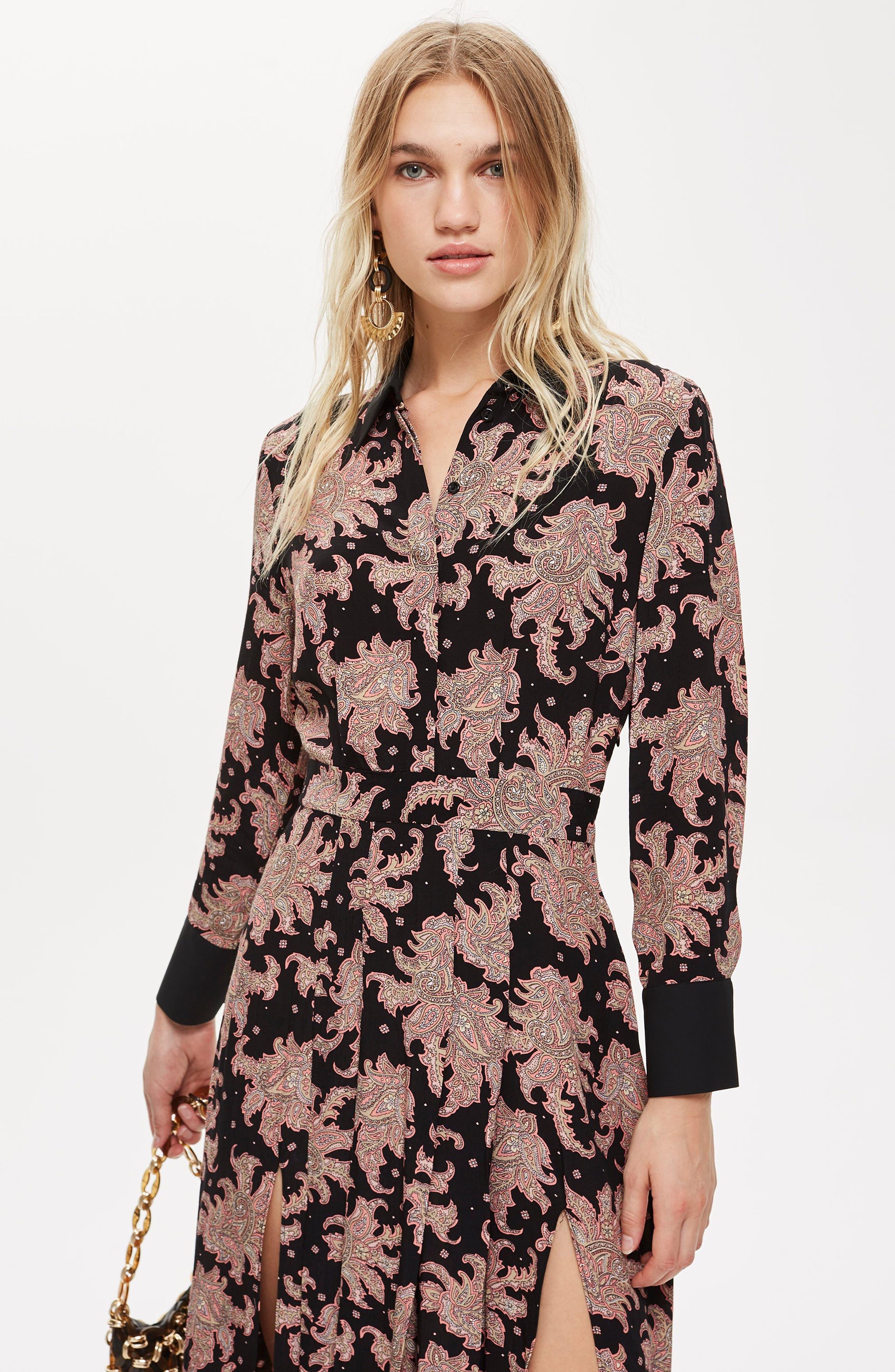 Paisley Midi Shirtdress,                             Alternate thumbnail 5, color,                             BLACK MULTI