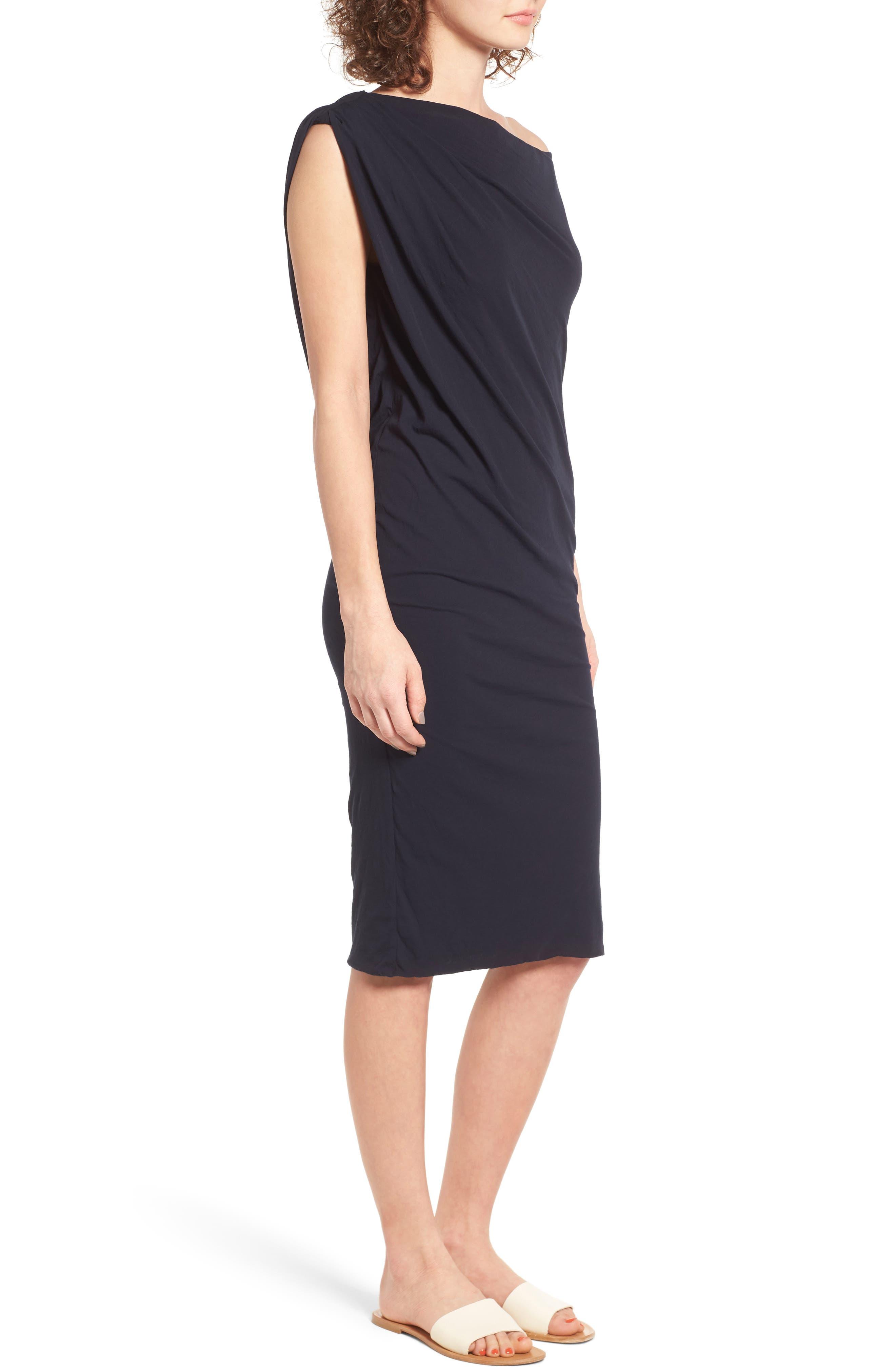 Draped One-Shoulder Midi Dress,                             Alternate thumbnail 9, color,
