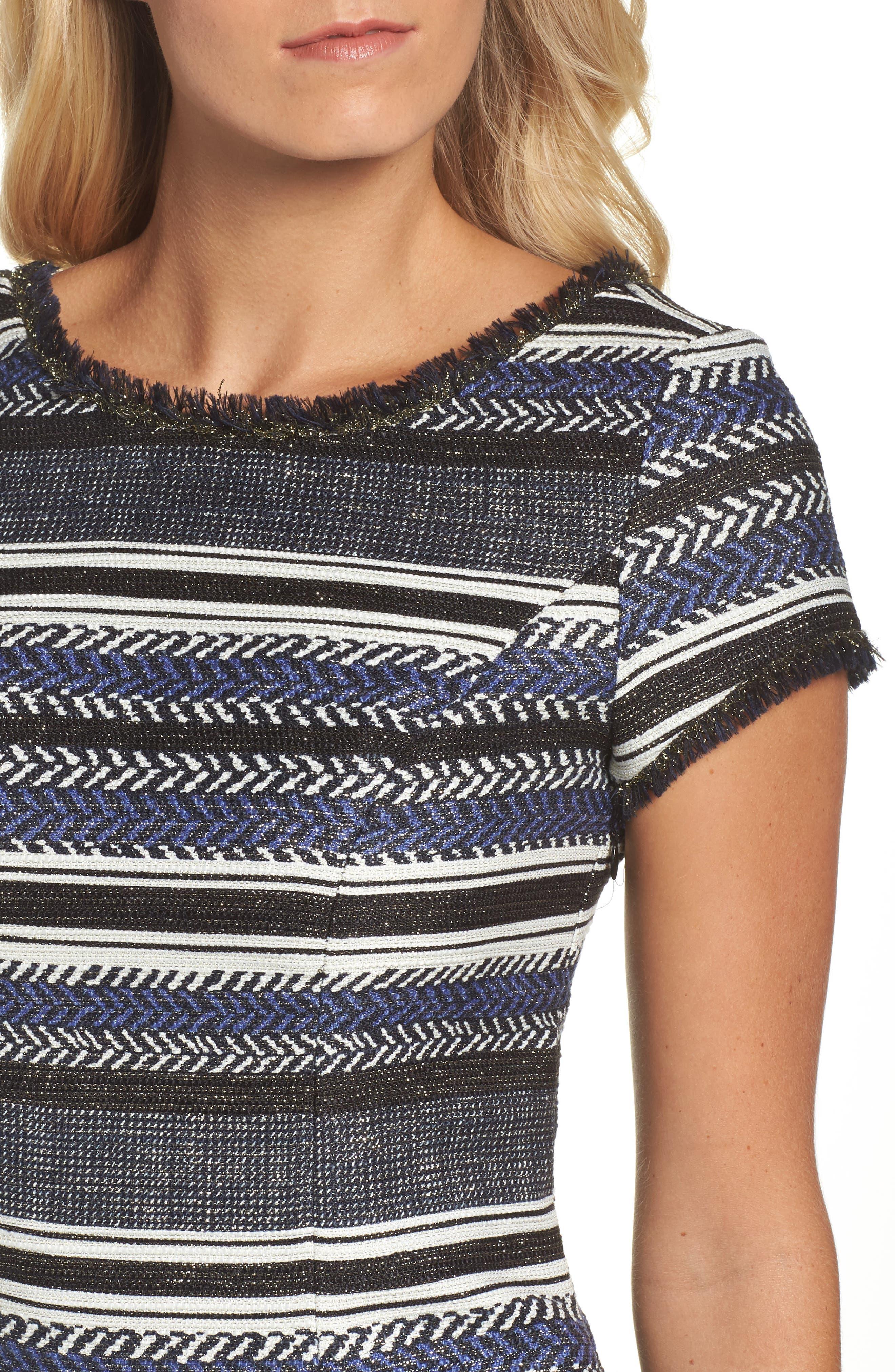Stripe Sheath Dress,                             Alternate thumbnail 4, color,                             400