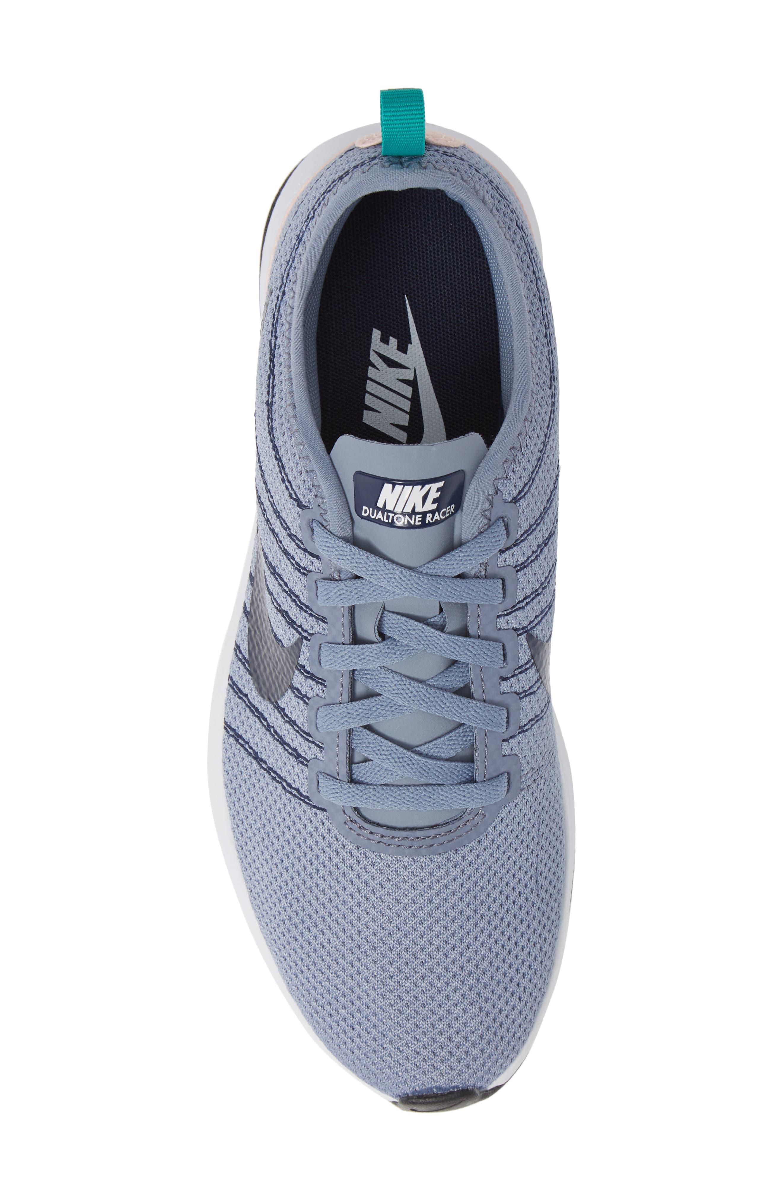 Dualtone Racer Running Shoe,                             Alternate thumbnail 5, color,                             ASHEN SLATE/ NAVY/ STORM PINK