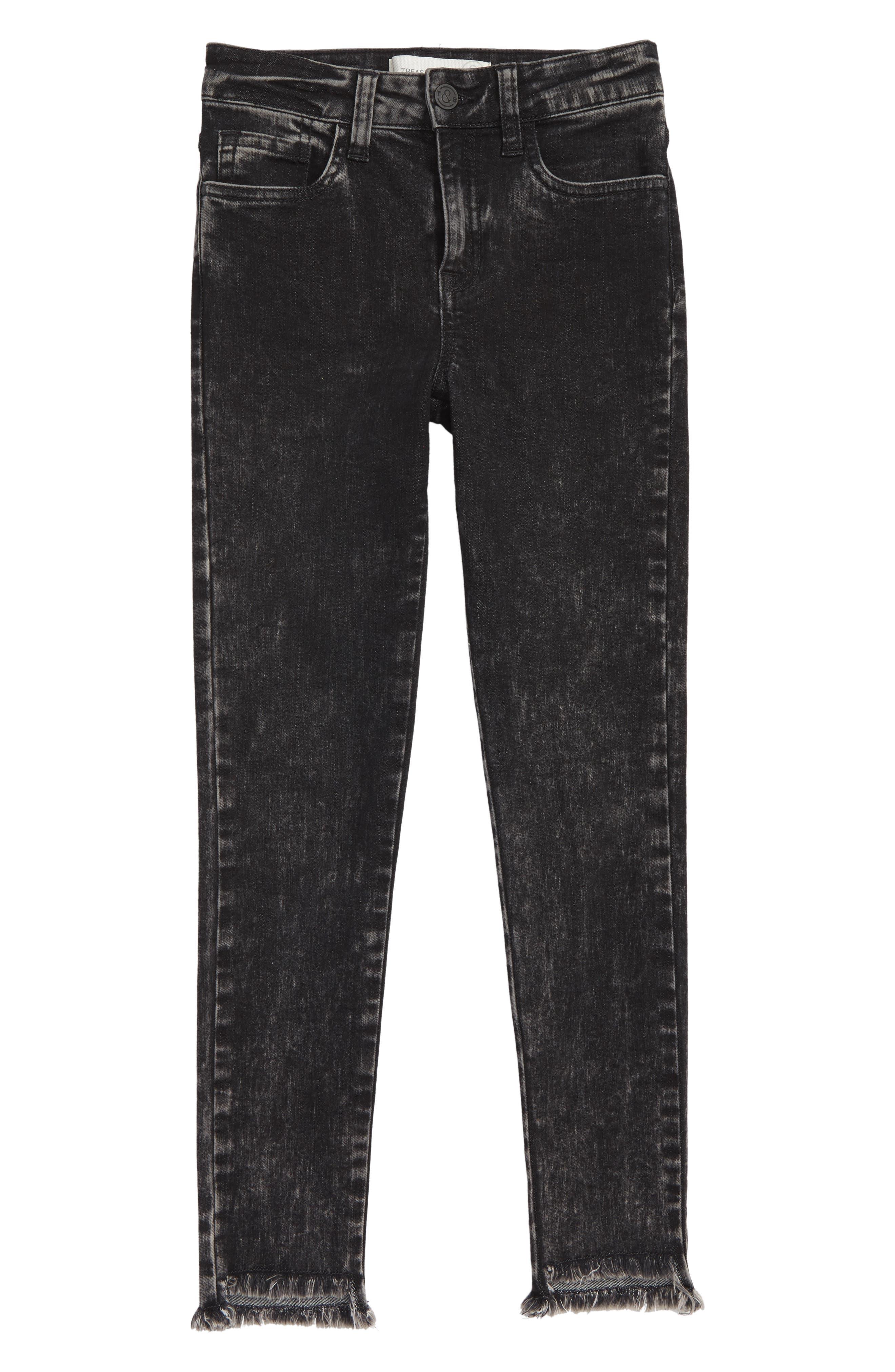 Frayed Step Hem Jeans,                             Main thumbnail 1, color,                             001