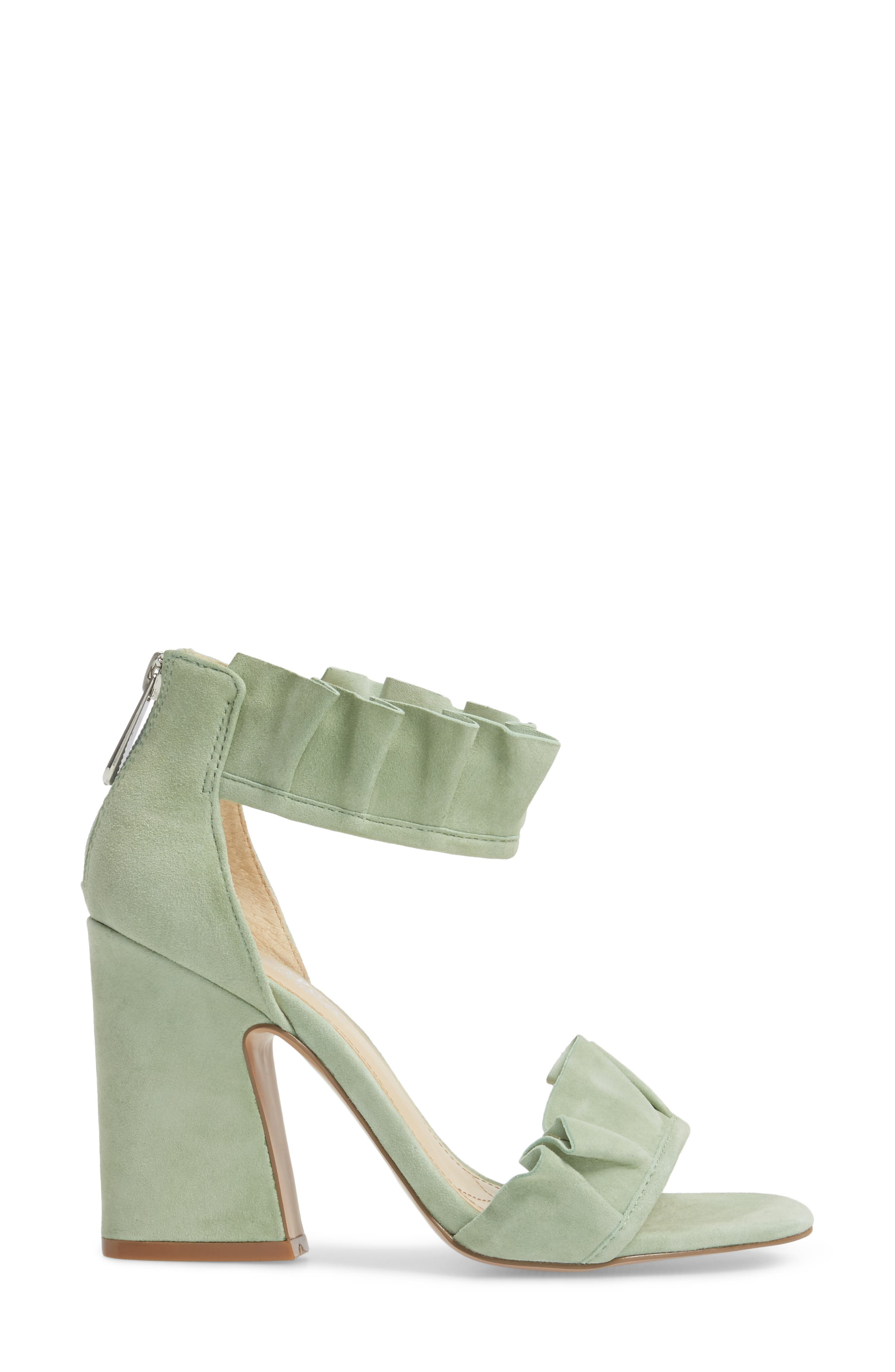 Haley Ruffle Sandal,                             Alternate thumbnail 3, color,                             MINT SUEDE