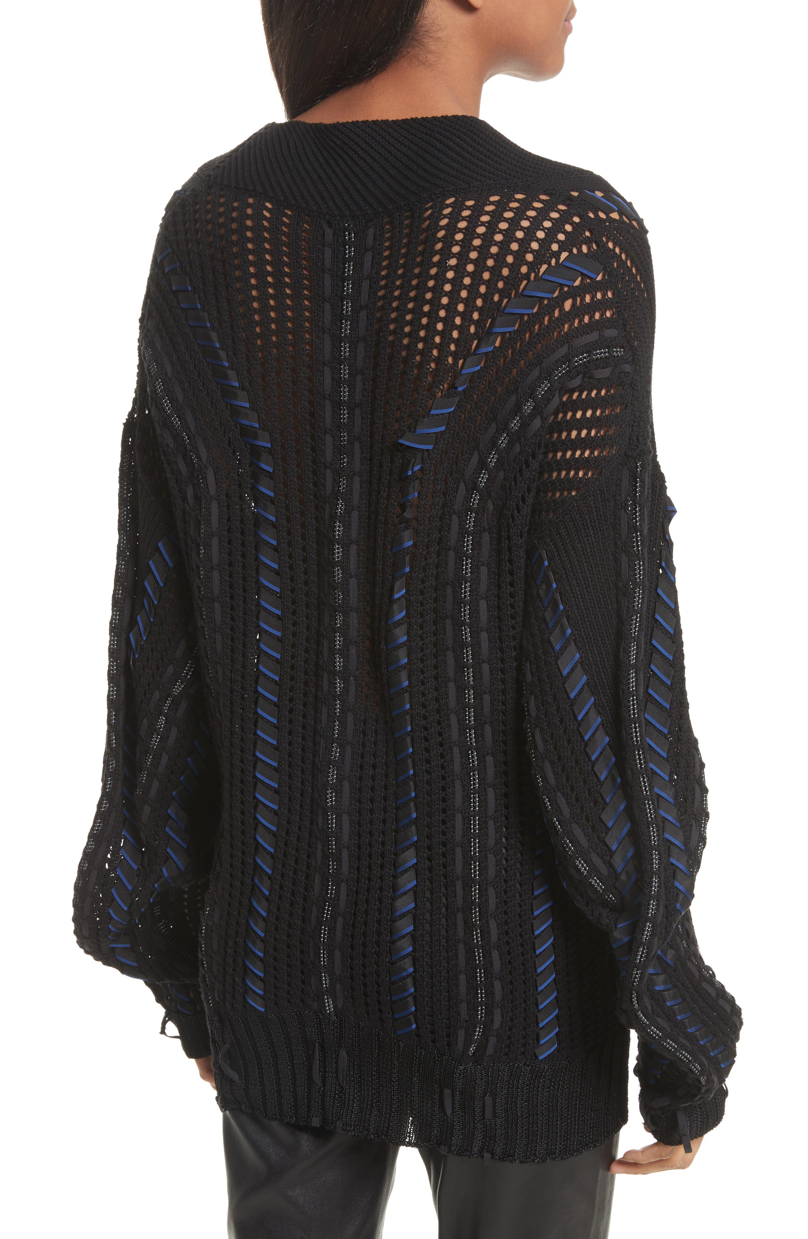 Lucie Pointelle Knit Cotton Blend Sweater,                             Alternate thumbnail 2, color,                             001