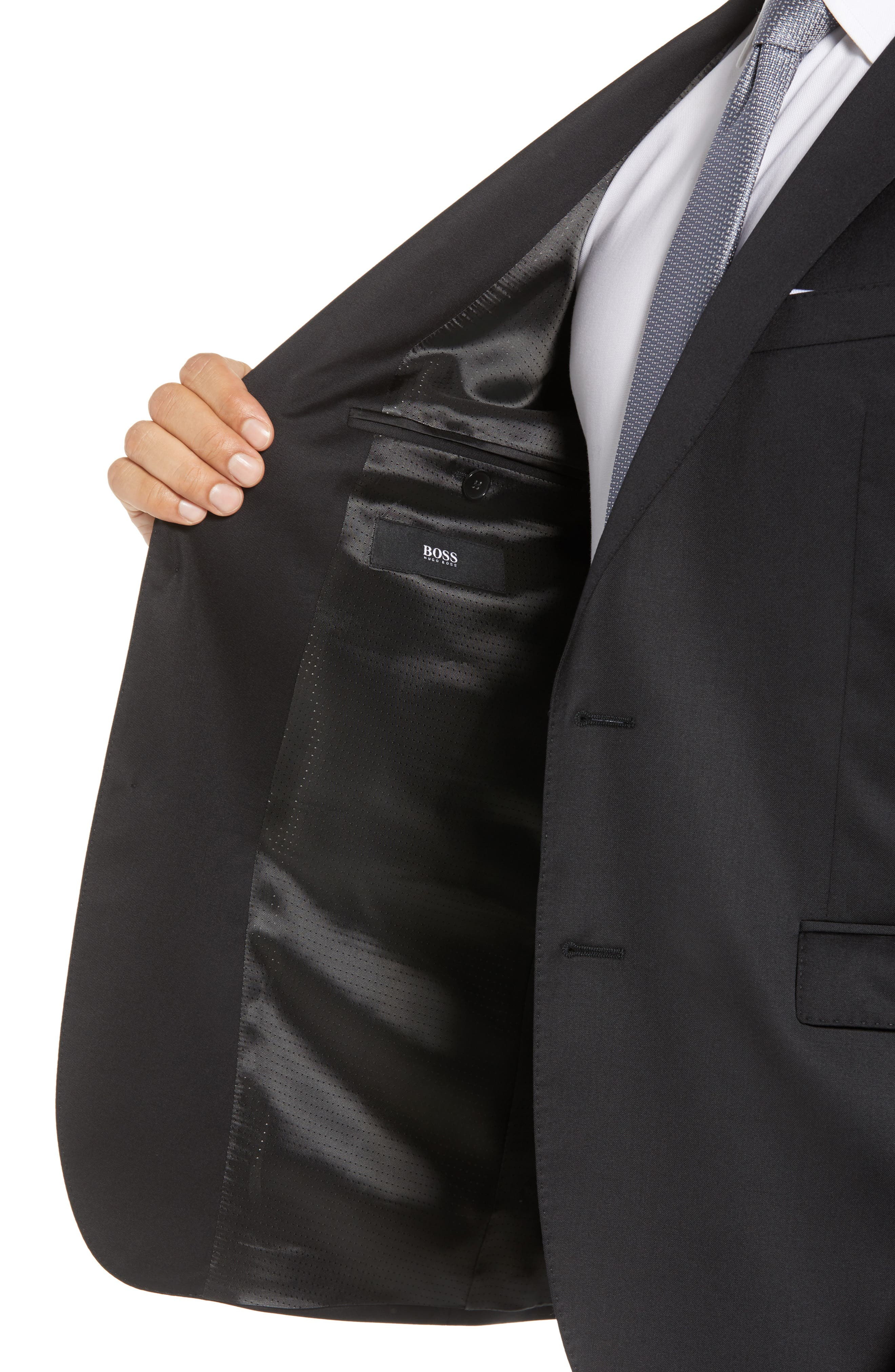 Ryan/Win Extra Trim Fit Solid Wool Suit,                             Alternate thumbnail 4, color,                             BLACK