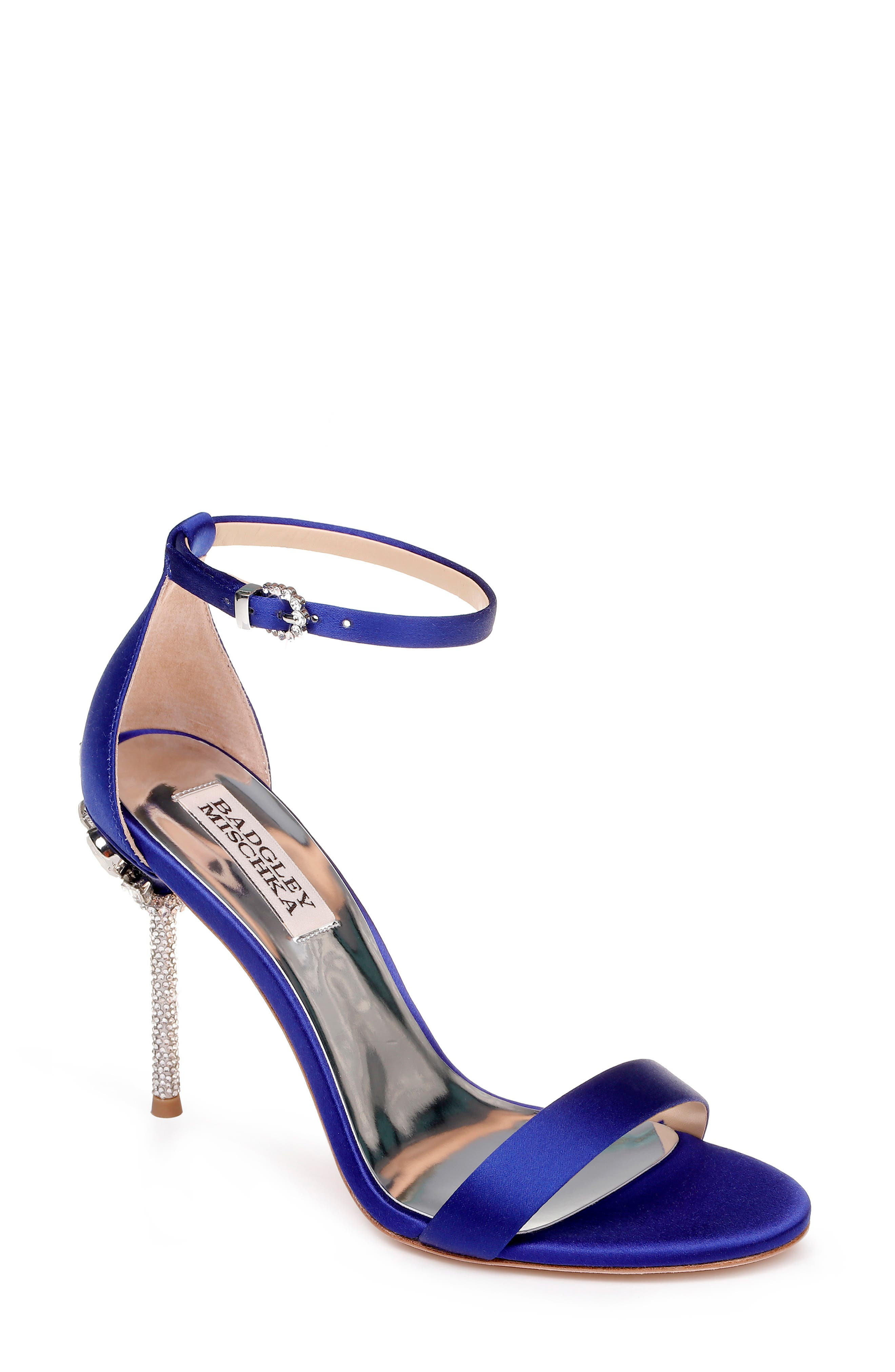 Badgley Mischka Vicia Crystal Embellished Heel Sandal, Blue