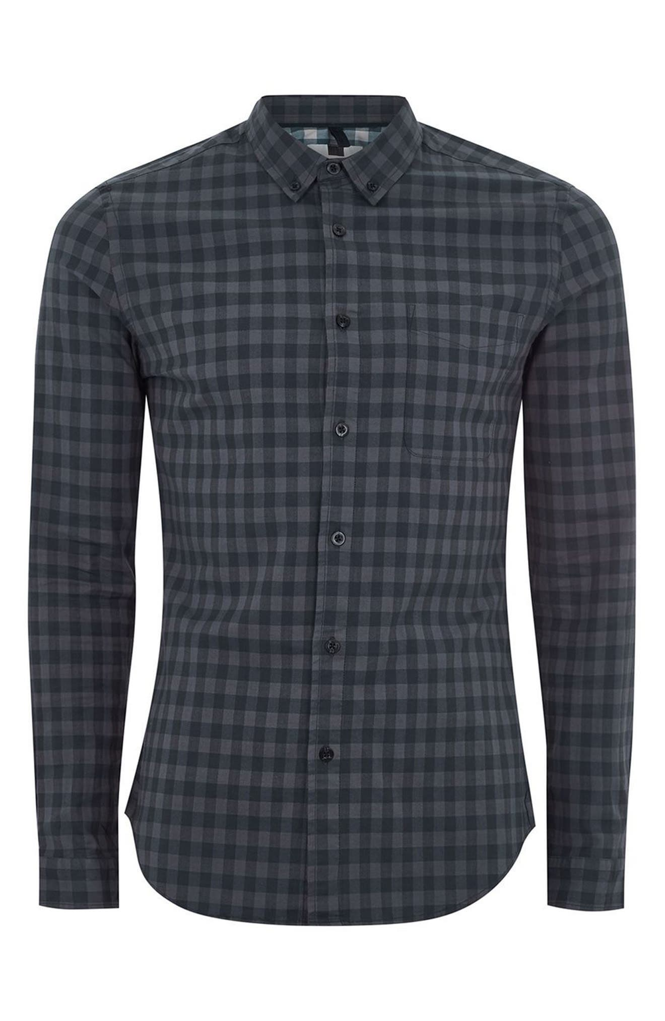 Muscle Fit Gingham Shirt,                             Alternate thumbnail 4, color,                             411