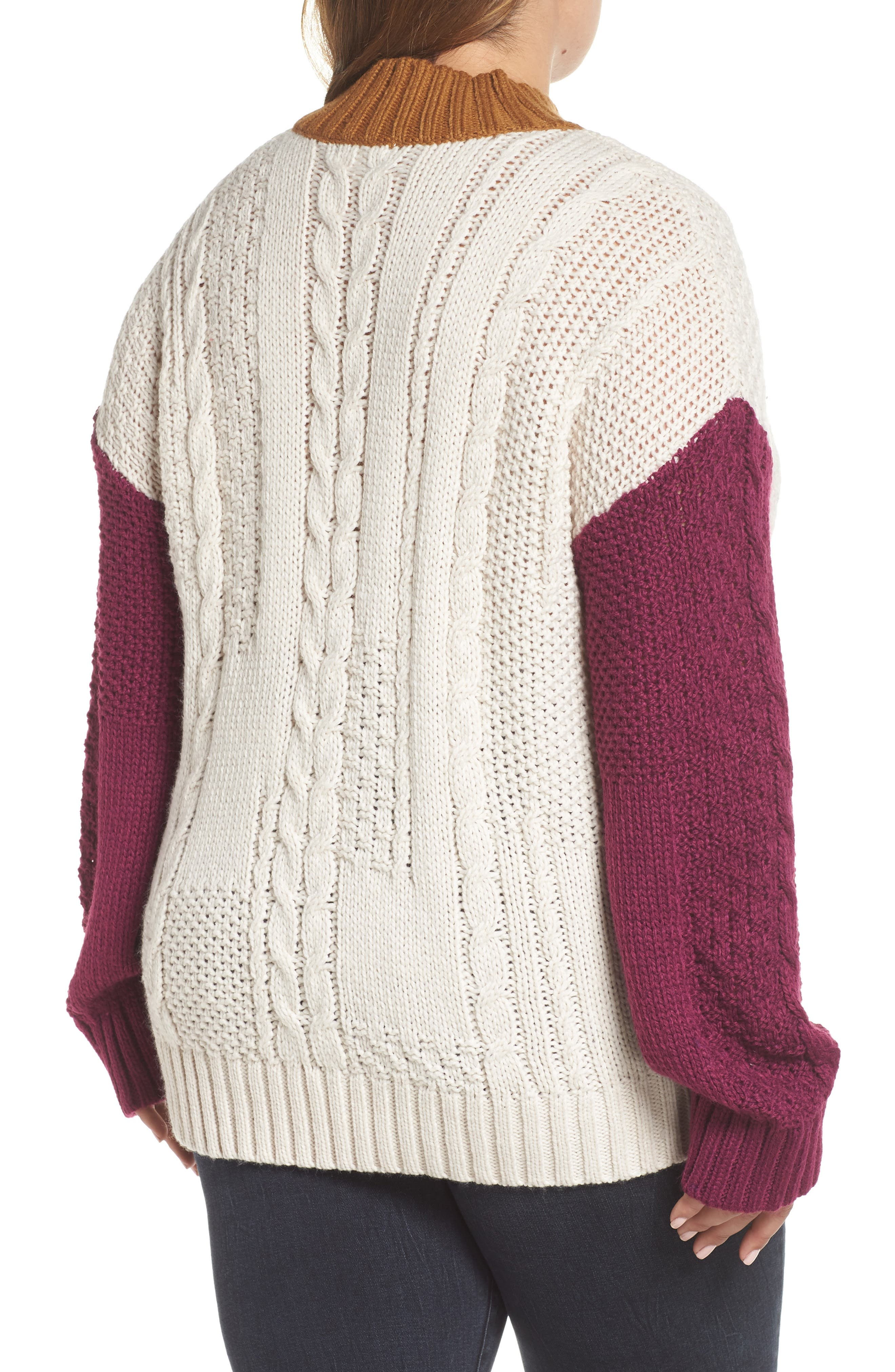 Colorblock Cable Knit Pullover,                             Alternate thumbnail 8, color,                             270