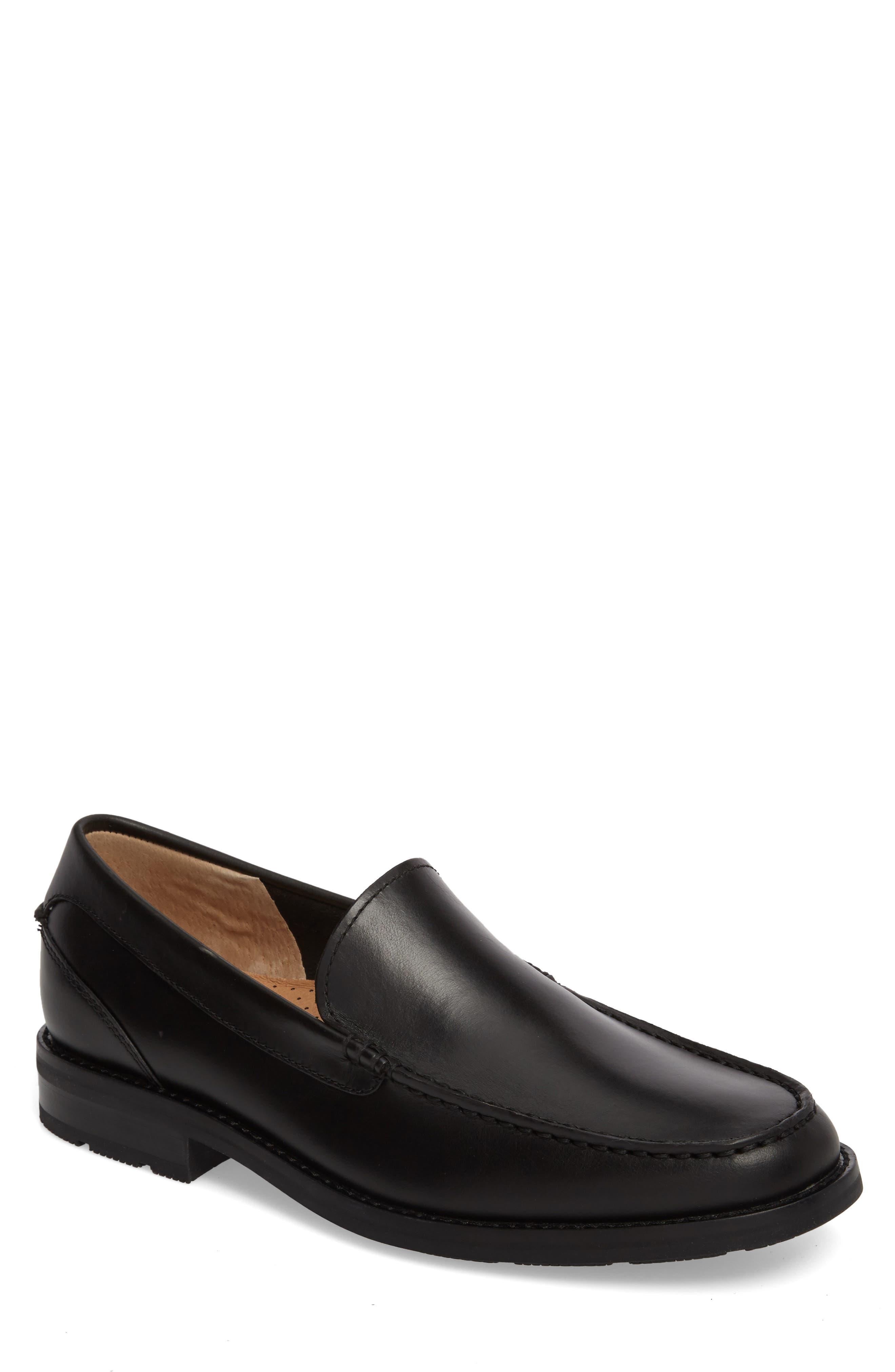 Essex Venetian Loafer,                         Main,                         color, BLACK LEATHER