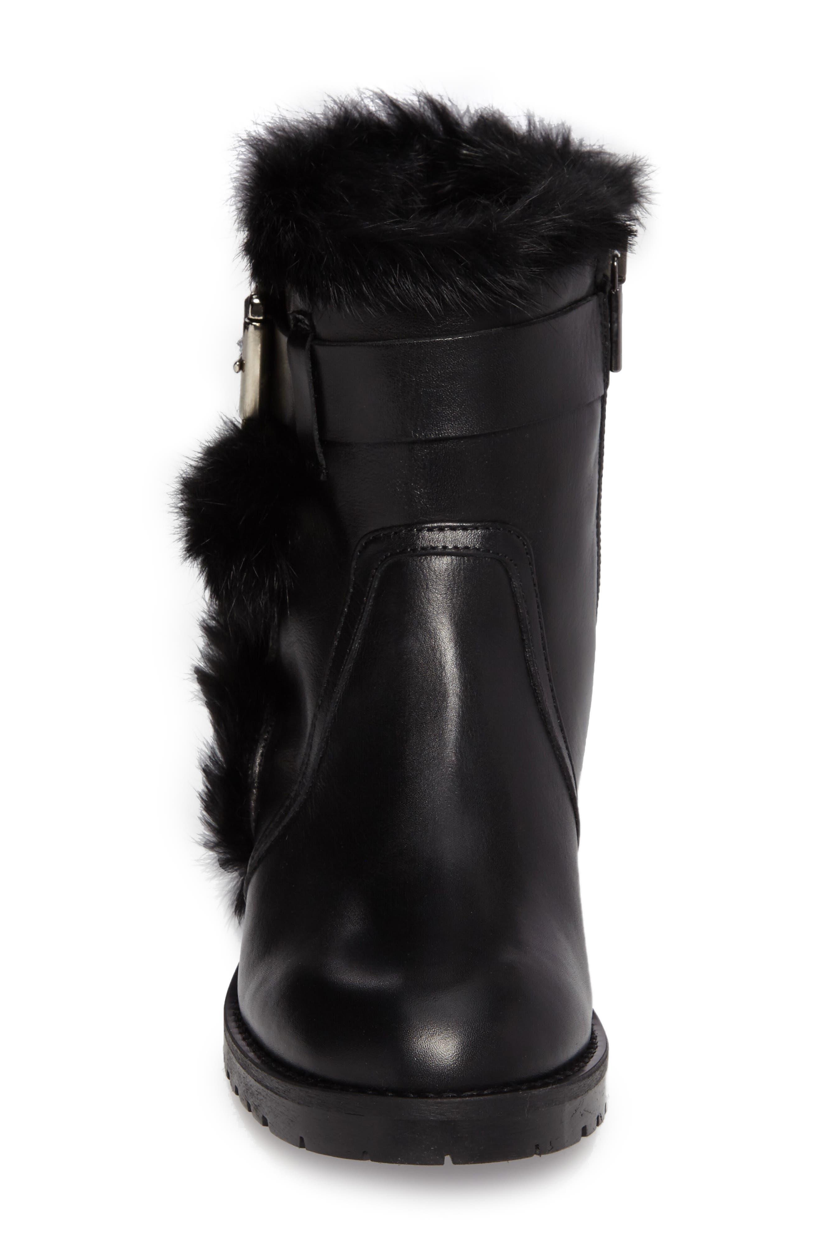 Rustic Genuine Rabbit Fur Cuff Boot,                             Alternate thumbnail 4, color,                             001