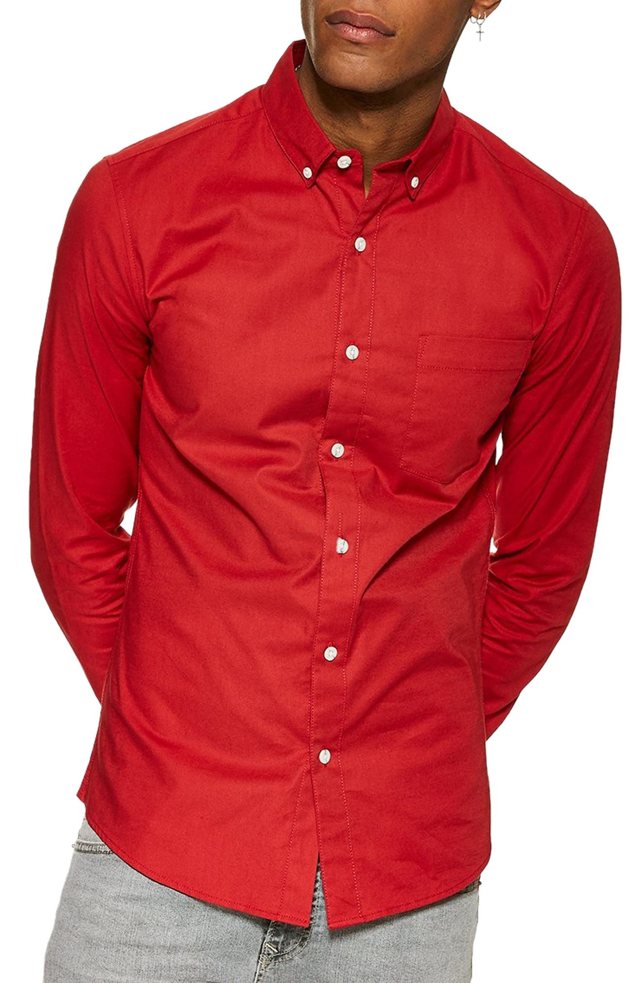 Topman Stretch Solid Sport Shirt, Red