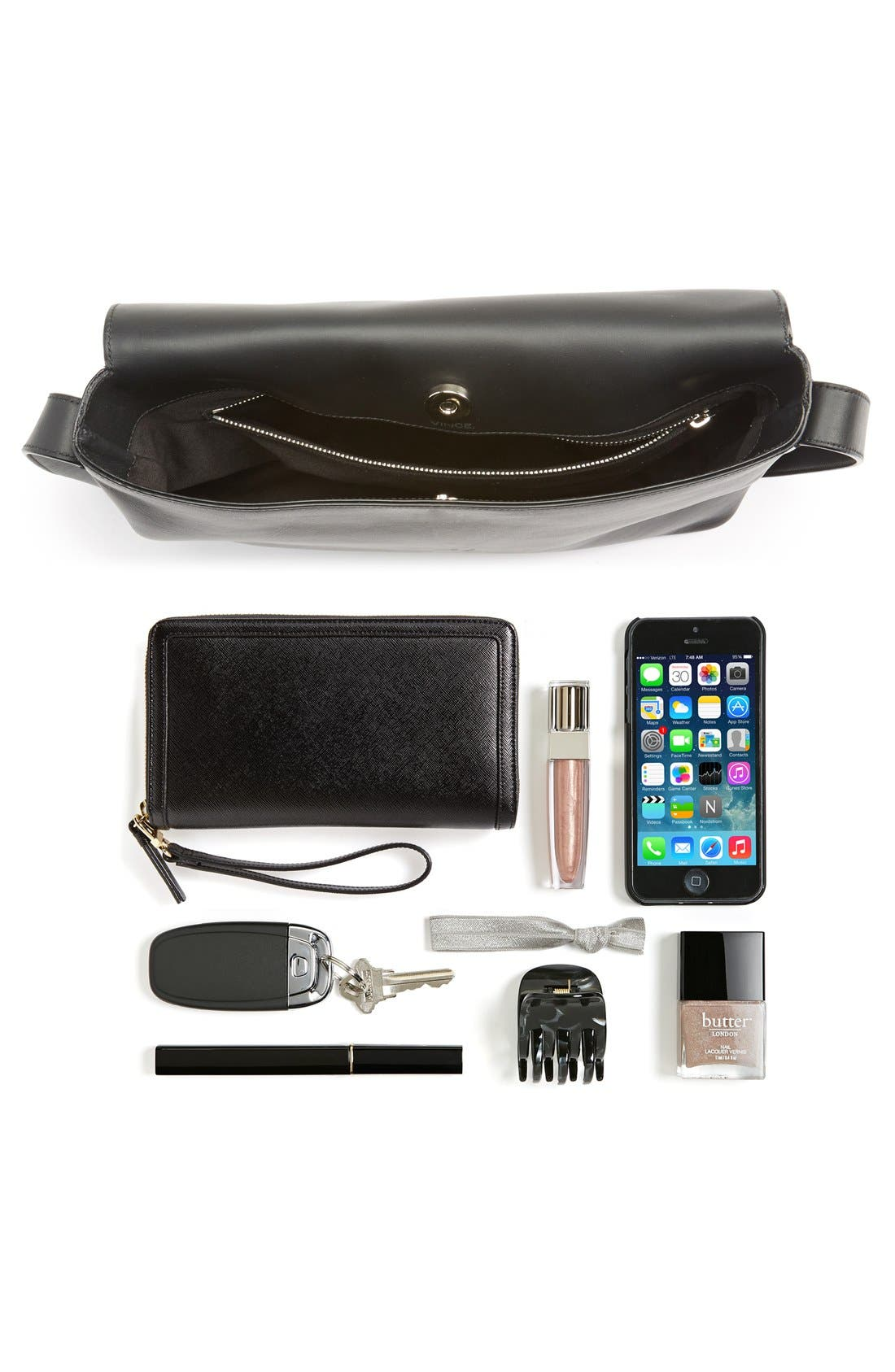 'Signature Collection - Medium' Leather Messenger Bag,                             Alternate thumbnail 5, color,                             001
