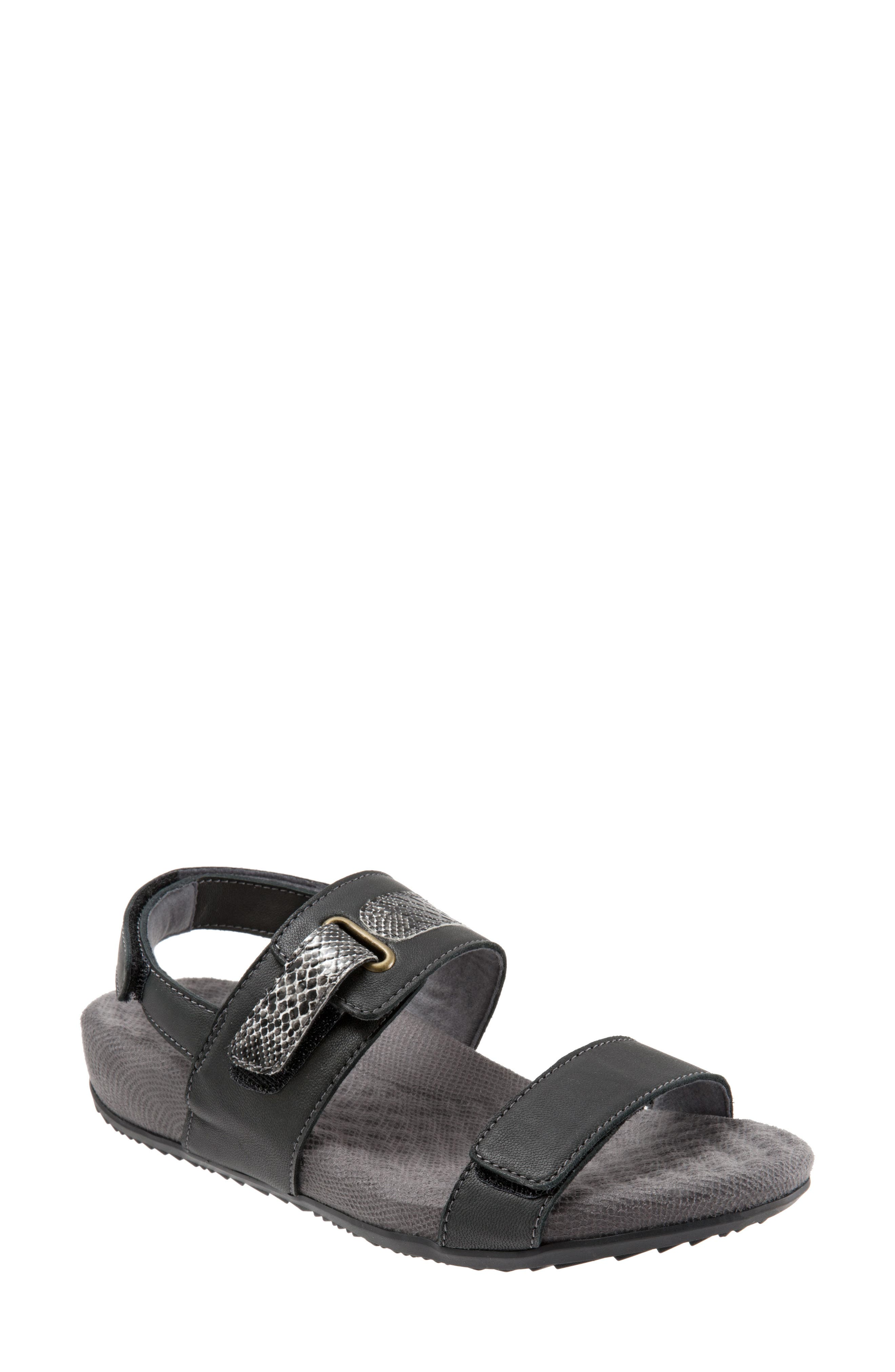 Bimmer Sandal,                         Main,                         color, BLACK LEATHER