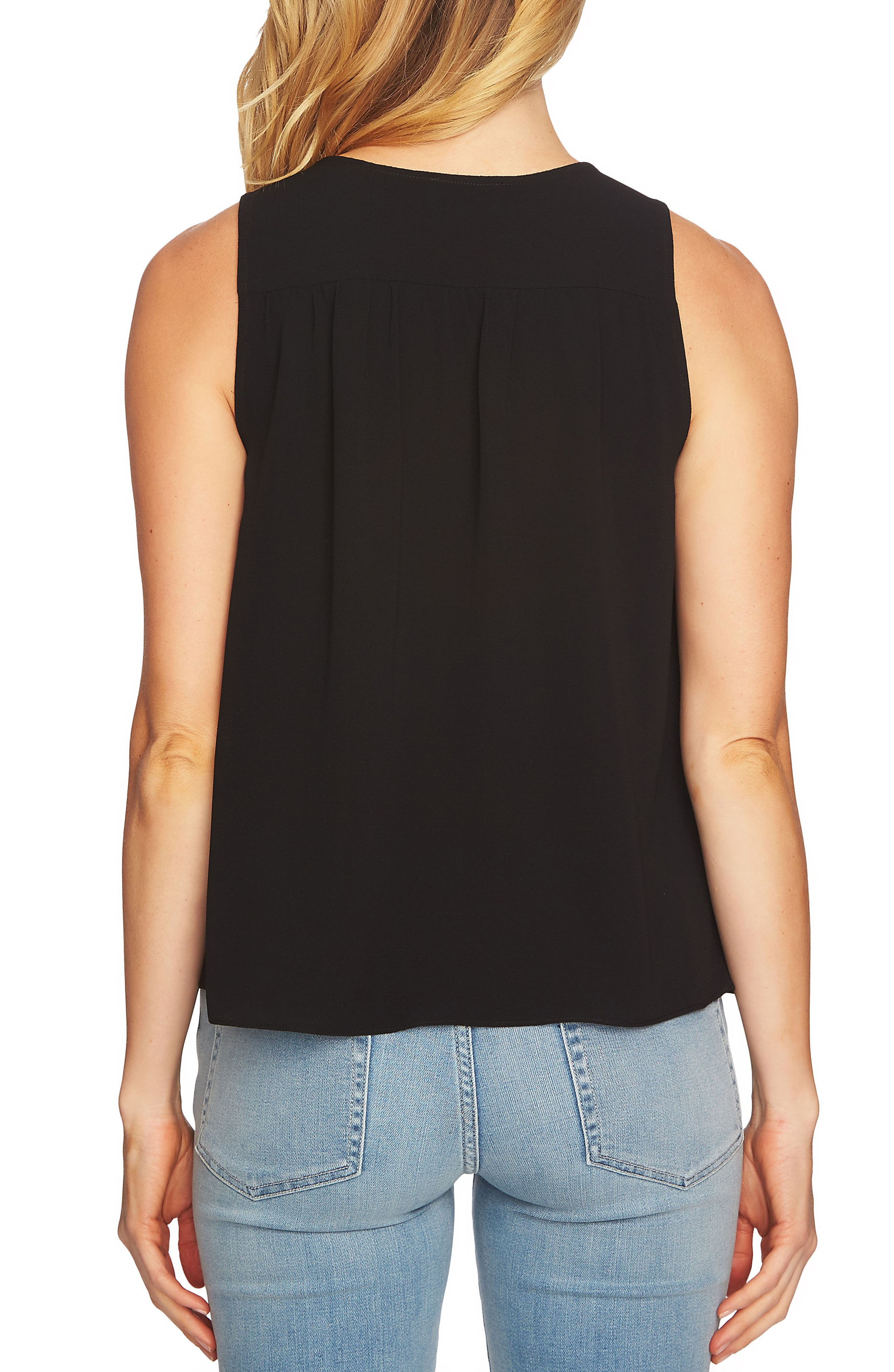 Sleeveless Tie Front Blouse,                             Alternate thumbnail 3, color,