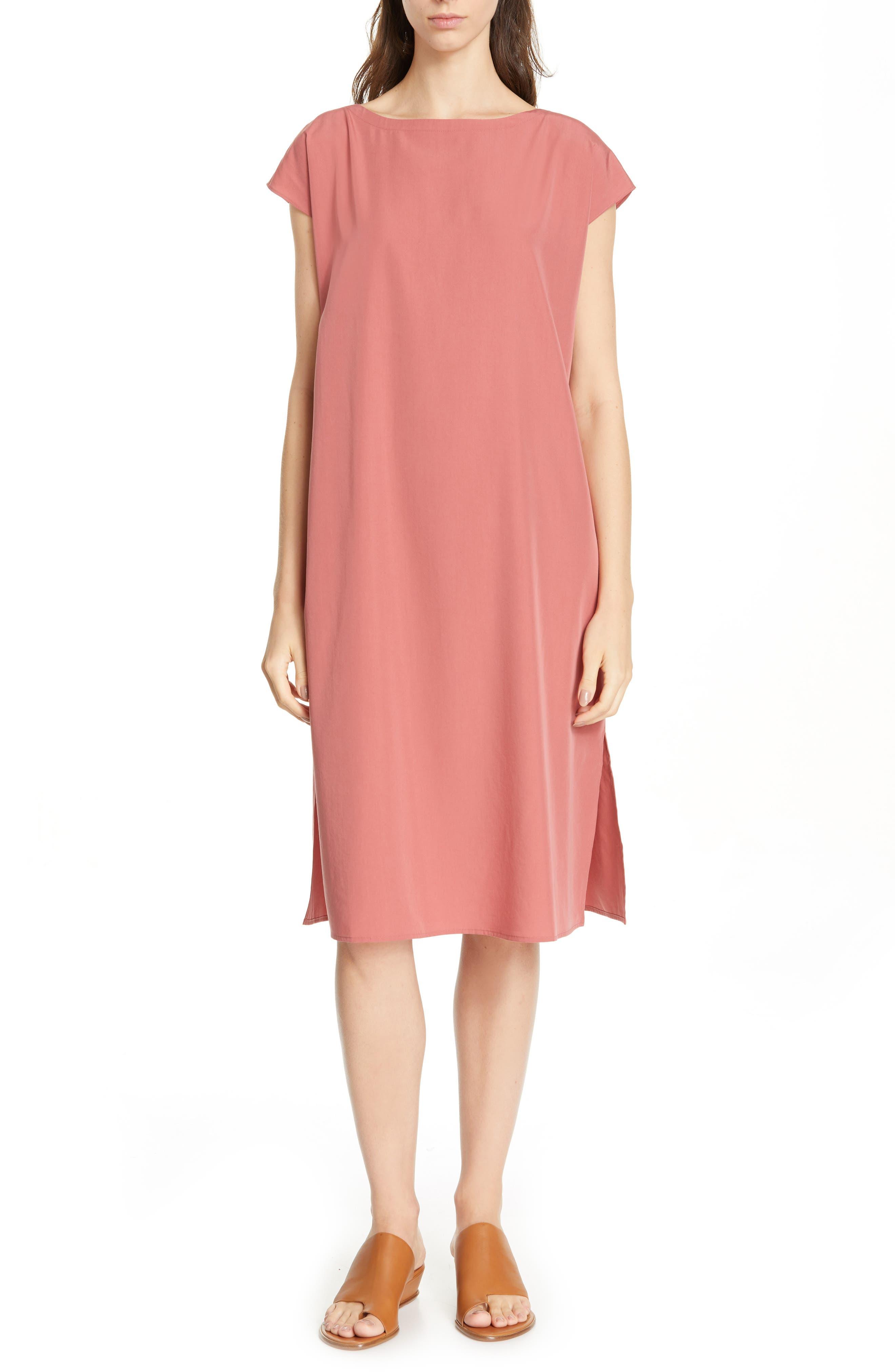 women's eileen fisher bateau neck dress, size x-small - pink
