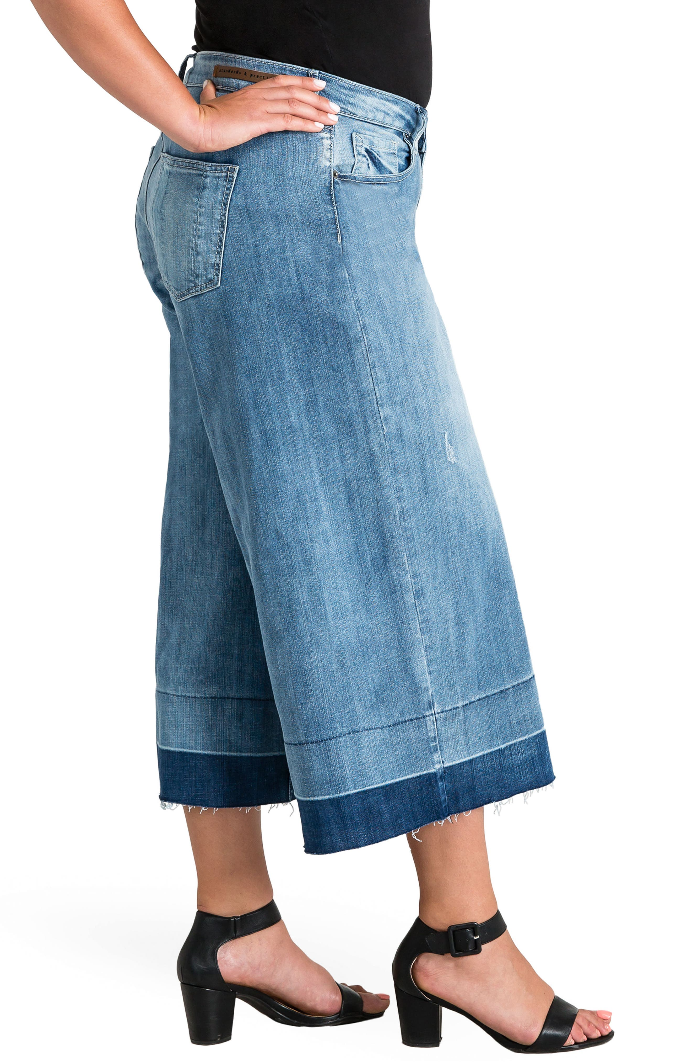 Release Hem Denim Culottes,                             Alternate thumbnail 3, color,                             SPRUCE