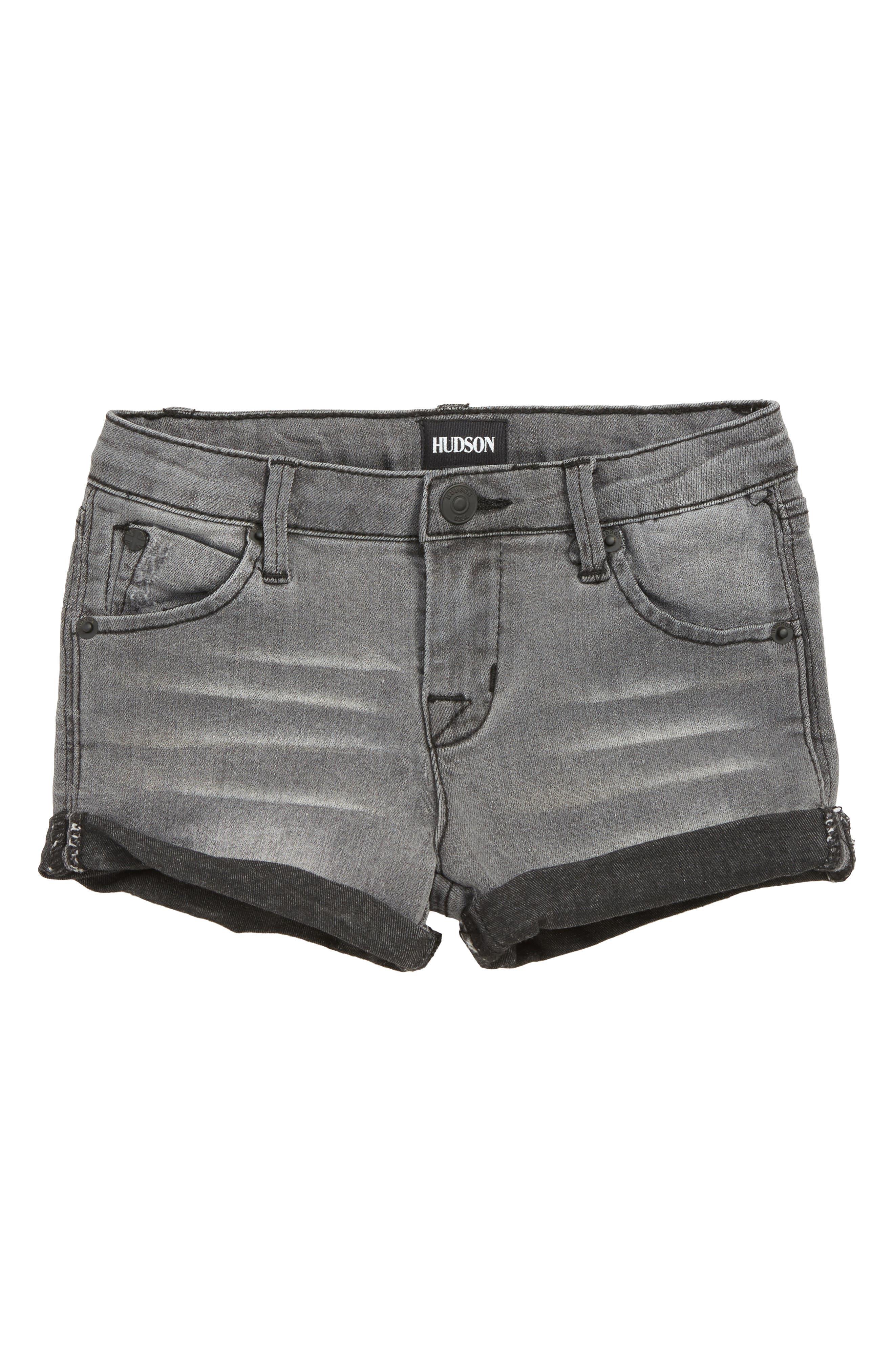 Roll Cuff Denim Shorts,                         Main,                         color, 001