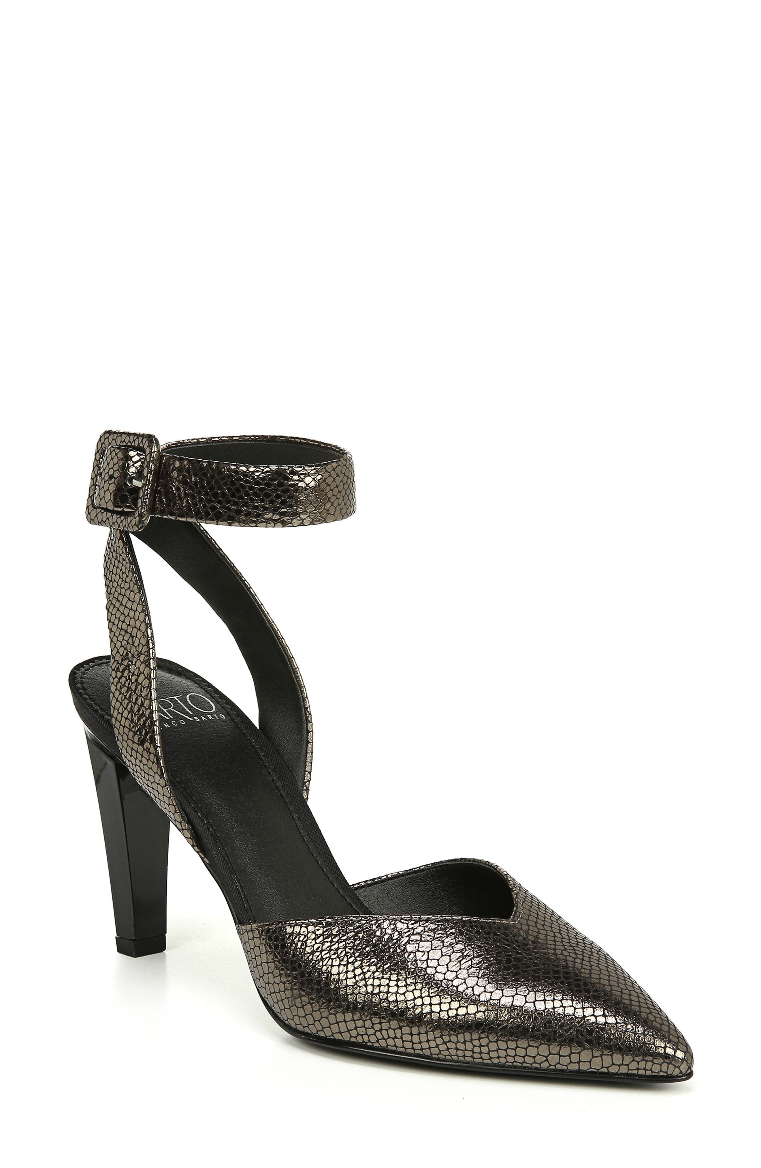 Santi Ankle Strap Pump,                         Main,                         color, PEWTER LEATHER