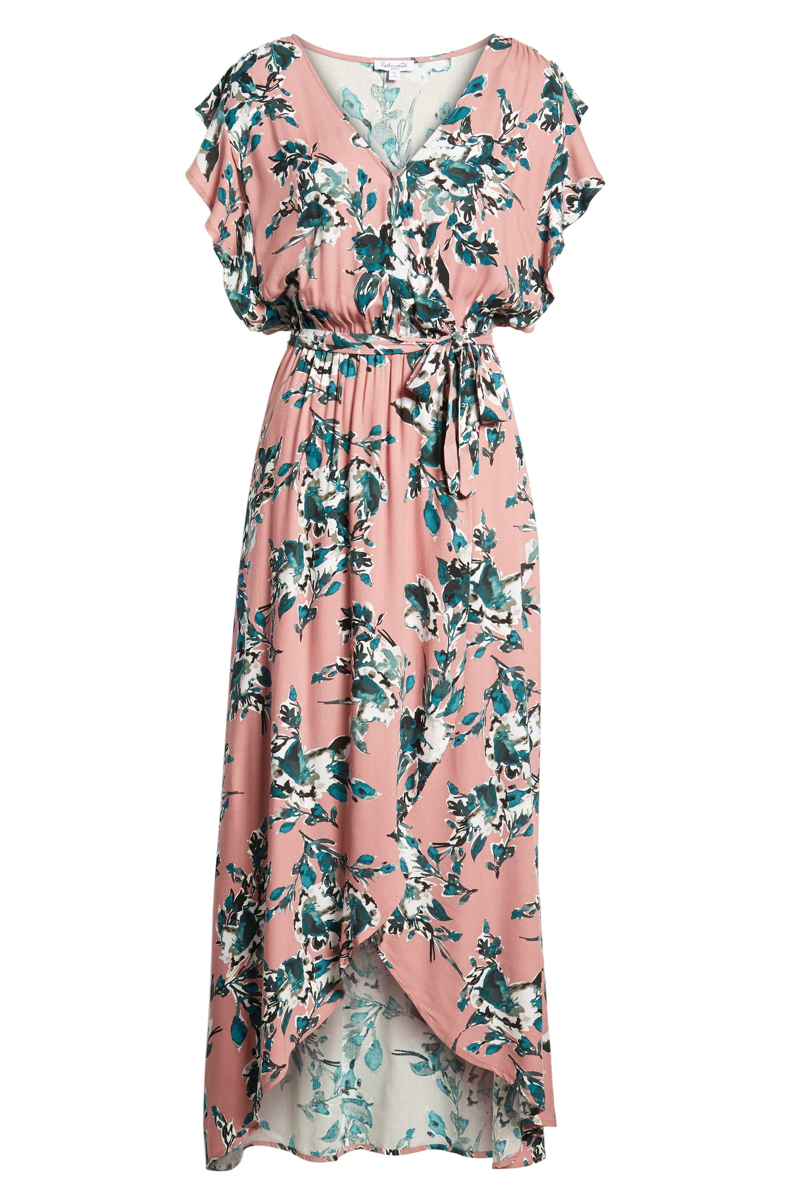Floral Print Wrap Maxi Dress,                             Alternate thumbnail 6, color,                             659