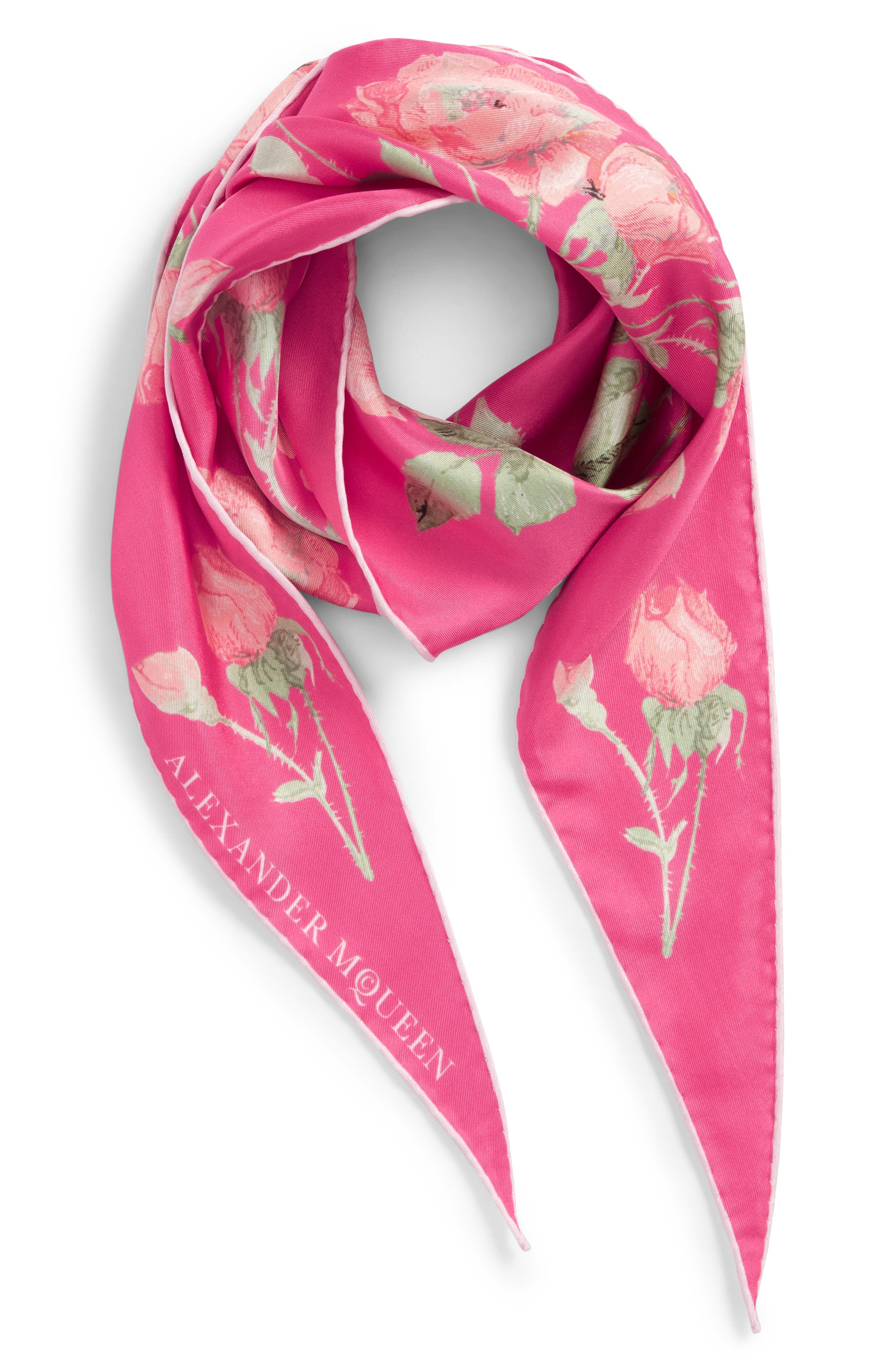 Garden Rose Losange Silk Twill Scarf,                             Alternate thumbnail 2, color,                             650