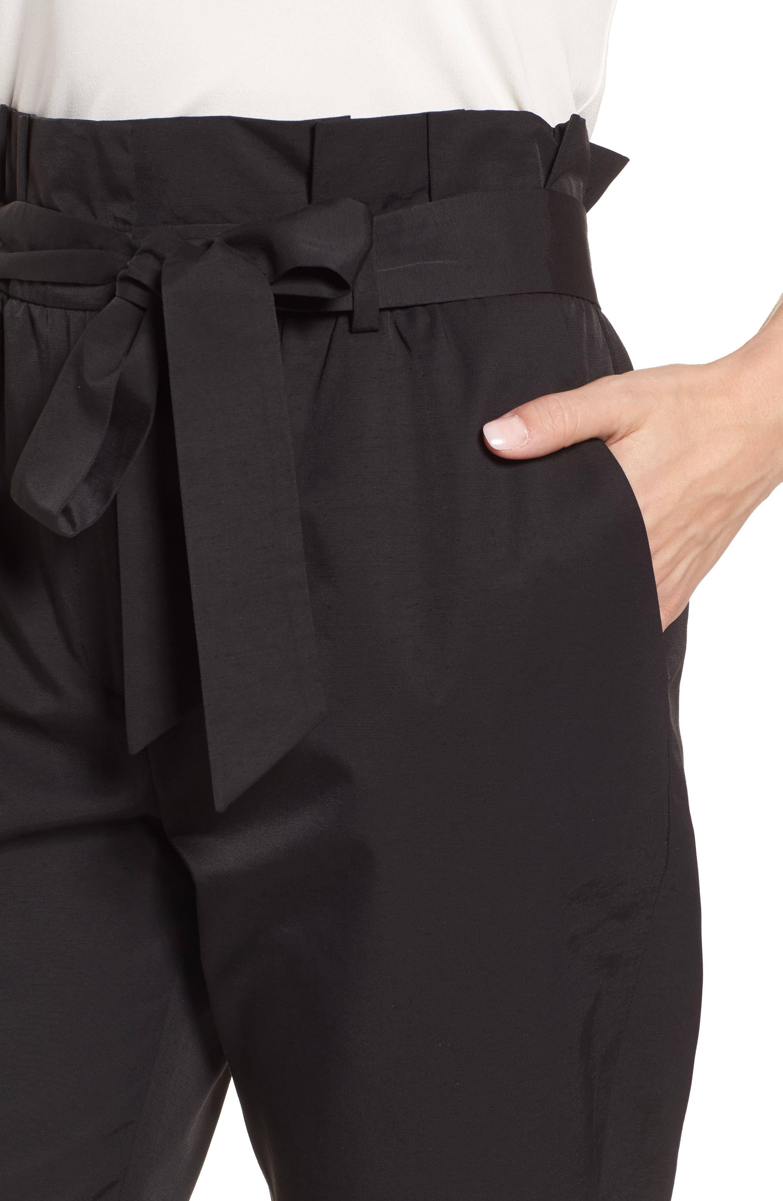 Paperbag Tie Waist Pants,                             Alternate thumbnail 4, color,                             001