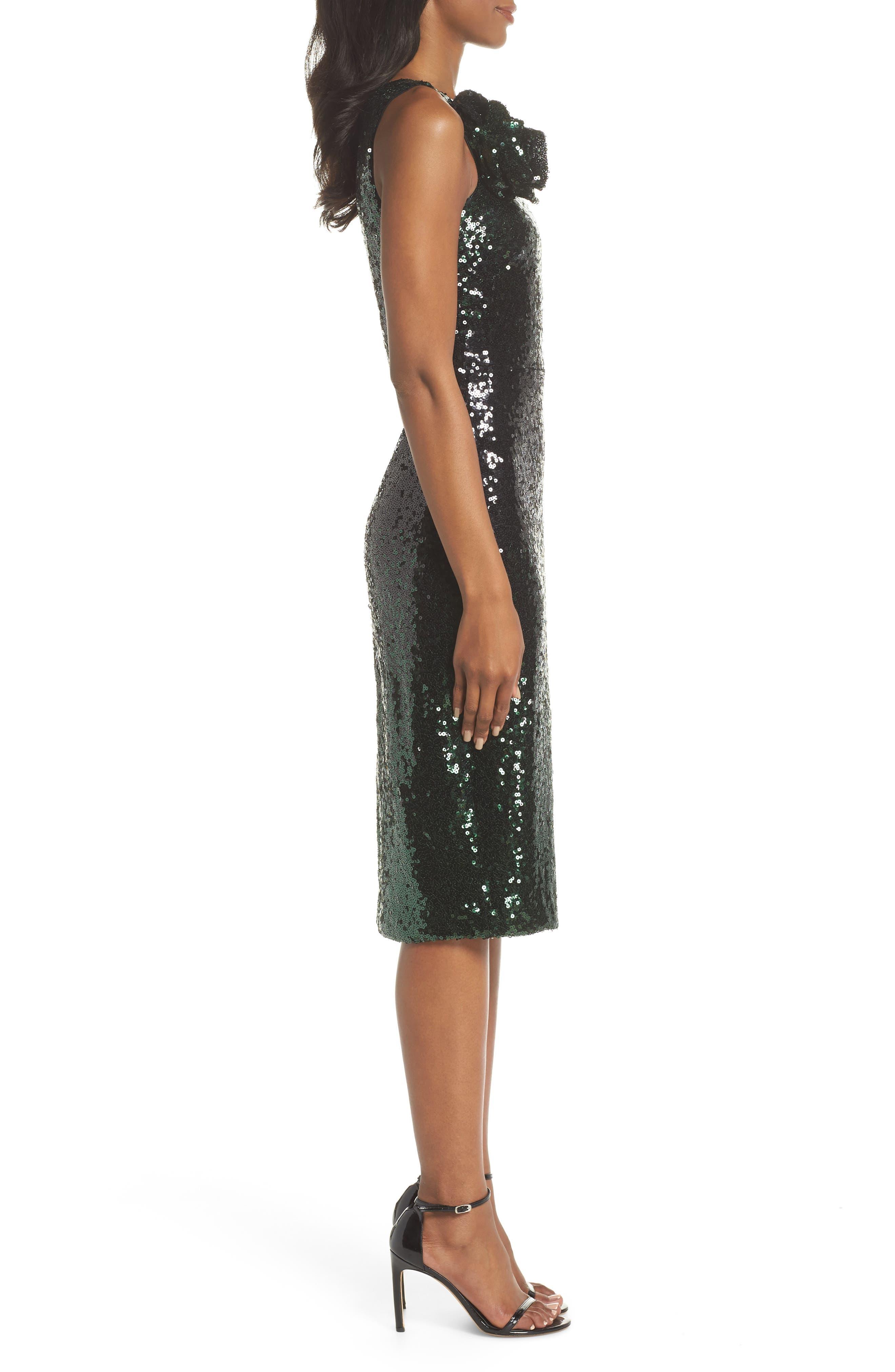 One-Shoulder Midi Dress,                             Alternate thumbnail 3, color,                             HUNTER