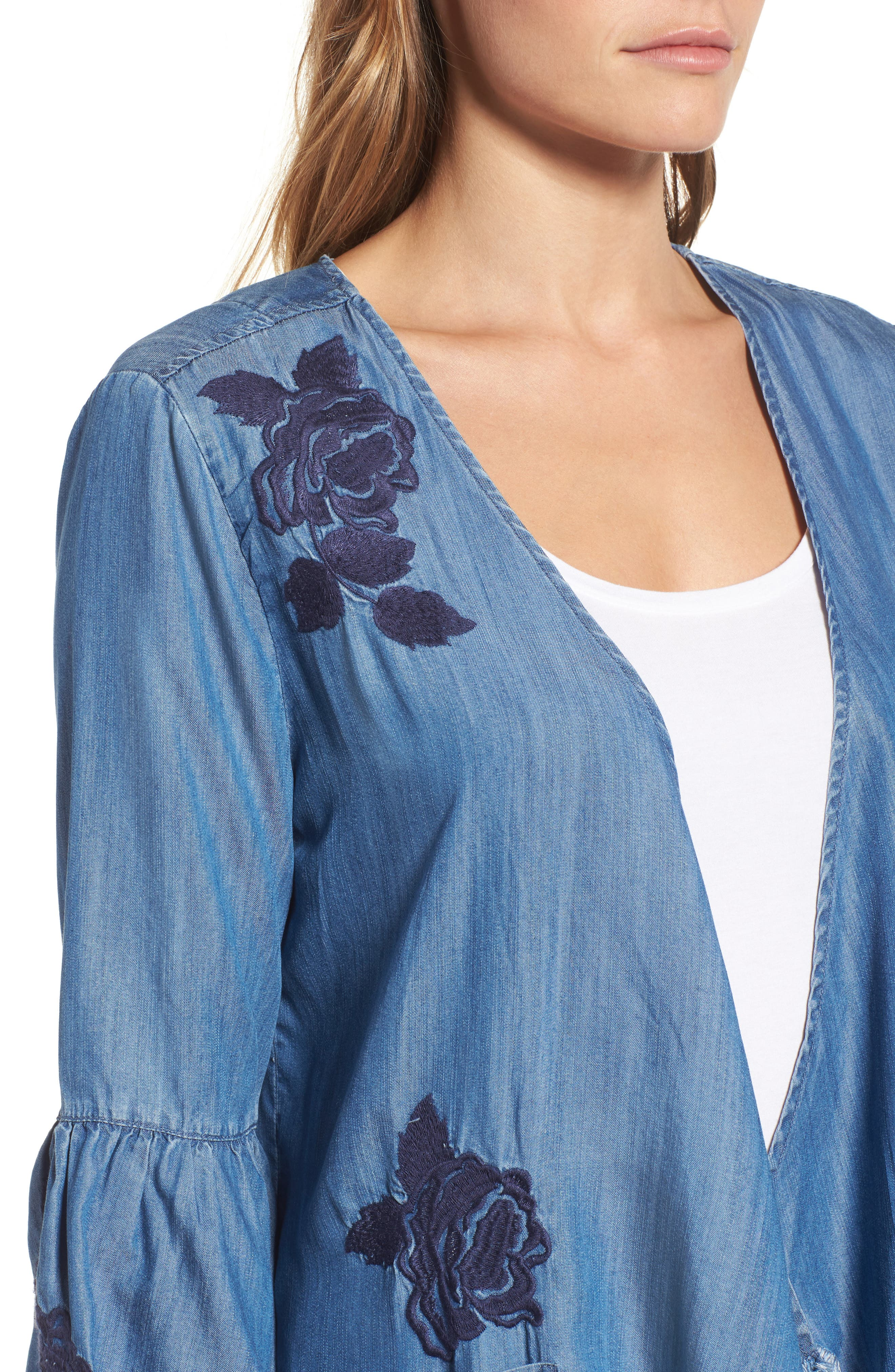 Embroidered Drape Front Chambray Cardigan,                             Alternate thumbnail 4, color,                             421