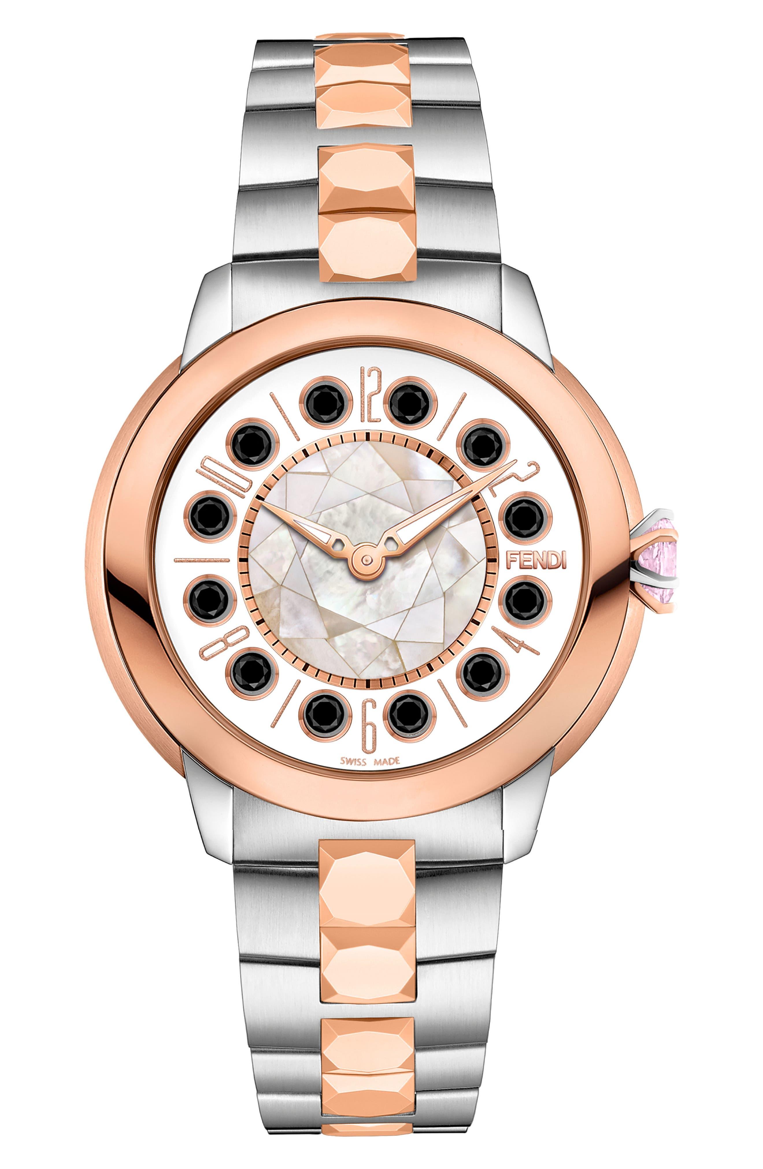 Ishine Rotating Stone Bracelet Watch, 33mm,                             Alternate thumbnail 3, color,                             SILVER/ MOP/ ROSE GOLD
