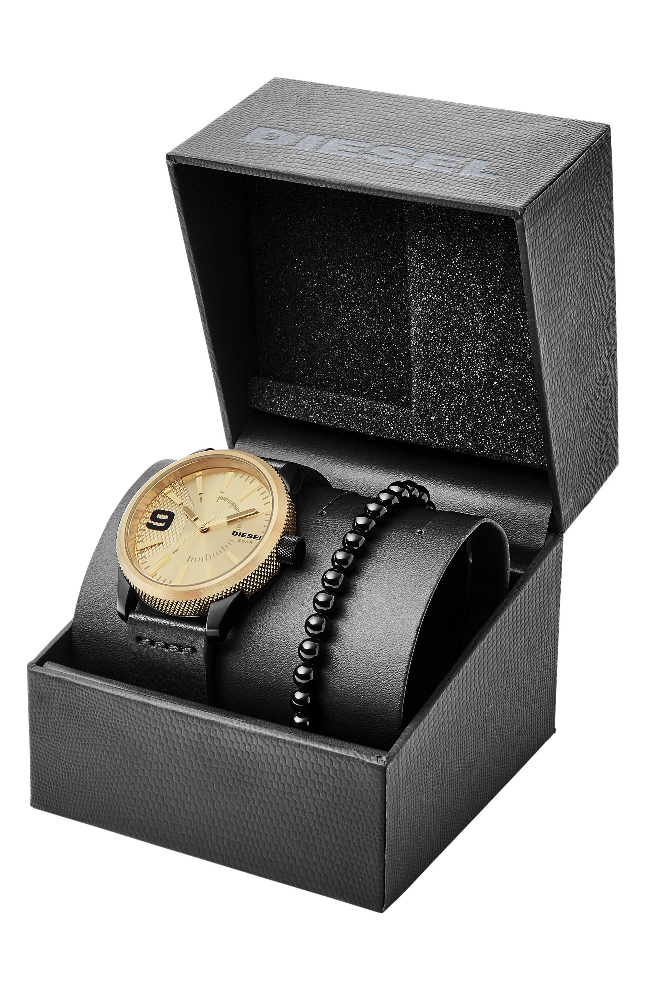 Rasp Leather Strap Watch & Bracelet Set, 46mm x 53mm,                             Alternate thumbnail 3, color,                             001